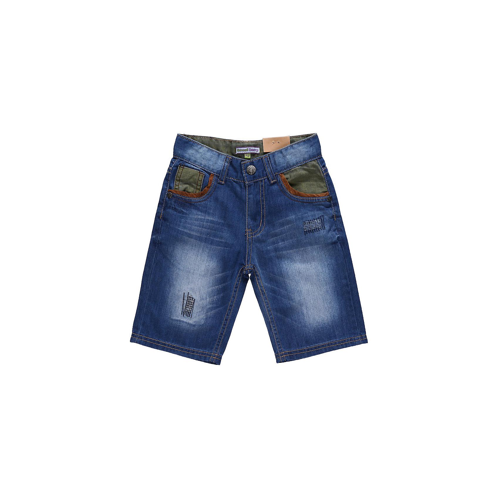 Бриджи джинсовые для мальчика Sweet BerryШорты, бриджи, капри<br>Джинсовые шорты с контрастными вставками из цветной джинсы. С регулировкой внутри на поясе.<br>Состав:<br>100% хлопок<br><br>Ширина мм: 191<br>Глубина мм: 10<br>Высота мм: 175<br>Вес г: 273<br>Цвет: синий<br>Возраст от месяцев: 36<br>Возраст до месяцев: 48<br>Пол: Мужской<br>Возраст: Детский<br>Размер: 104,98,116,128,122,110<br>SKU: 4522677