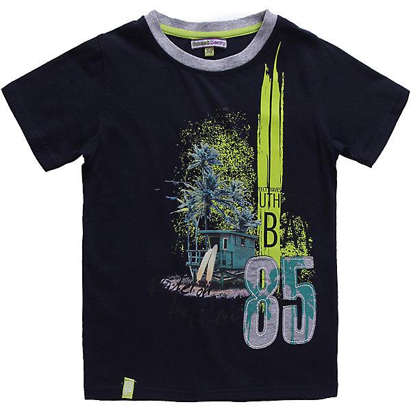 Футболка для мальчика Sweet BerryФутболки, поло и топы<br>Модная футболка для мальчика. Украшена модным, ярким принтом.<br>Состав:<br>95% хлопок 5% эластан<br><br>Ширина мм: 199<br>Глубина мм: 10<br>Высота мм: 161<br>Вес г: 151<br>Цвет: синий<br>Возраст от месяцев: 24<br>Возраст до месяцев: 36<br>Пол: Мужской<br>Возраст: Детский<br>Размер: 98,128,110,116,122,104<br>SKU: 4522838