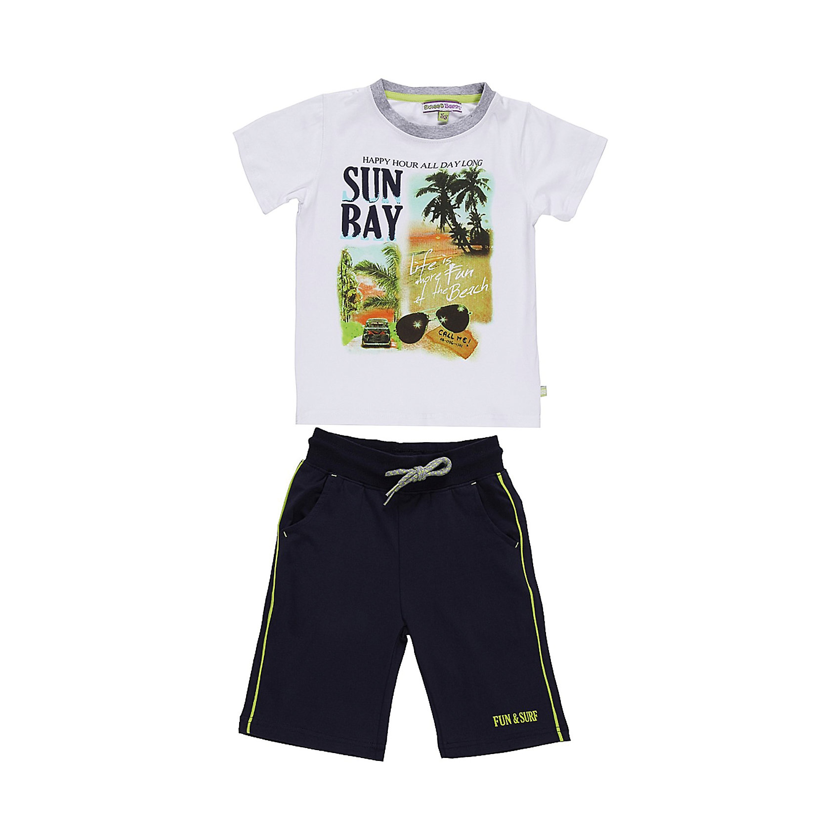 Комплект для мальчика: футболка и шорты Sweet BerryКомплекты<br>Летний комплект футболка и шорты для мальчика. Шорты на эластичном поясе с внутренней резинкой и дополнительных хлопковым шнурком. Футболка украшена модными принтом.<br>Состав:<br>95% хлопок 5% эластан<br><br>Ширина мм: 199<br>Глубина мм: 10<br>Высота мм: 161<br>Вес г: 151<br>Цвет: синий/белый<br>Возраст от месяцев: 24<br>Возраст до месяцев: 36<br>Пол: Мужской<br>Возраст: Детский<br>Размер: 98,104,128,122,110,116<br>SKU: 4522859