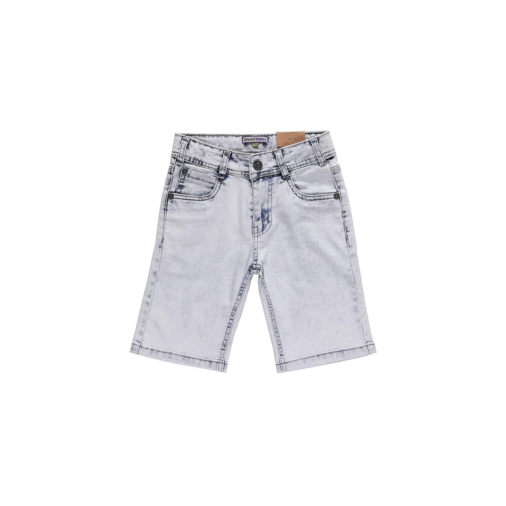 Бриджи джинсовые для мальчика Sweet BerryШорты, бриджи, капри<br>Джинсовые бриджи для мальчиков. Ткань имеет примесь эластана, поэтому они немнущиеся, легко стираются, не садятся. Однотонного голубого цвета с небольшими темными местами на швах. Штанины без подворотов. Такие бриджи - удобная и комфортная повседневная одежда в теплую пору года.<br>Состав:<br>98% хлопок, 2% эластан<br><br>Ширина мм: 191<br>Глубина мм: 10<br>Высота мм: 175<br>Вес г: 273<br>Цвет: голубой<br>Возраст от месяцев: 84<br>Возраст до месяцев: 96<br>Пол: Мужской<br>Возраст: Детский<br>Размер: 128,122,110,116,98,104<br>SKU: 4523013