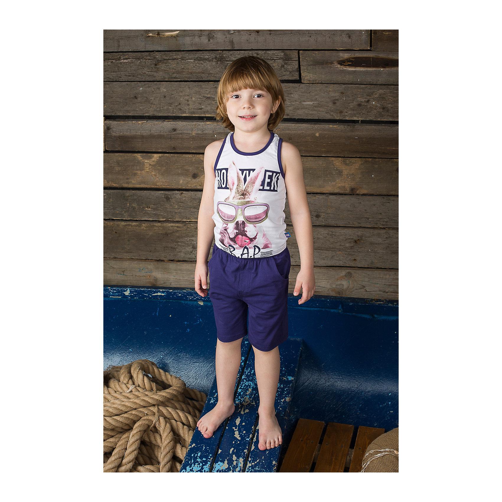 Комплект для мальчика: майка и шорты Sweet BerryФутболки, поло и топы<br>Комплект майка и шорты для мальчика. Шорты из тонкого трикотажа, на эластичном поясе с внутренней резинкой и дополнительных хлопковым шнурком. Майка украшена принтом.<br>Состав:<br>95% хлопок 5% эластан<br><br>Ширина мм: 199<br>Глубина мм: 10<br>Высота мм: 161<br>Вес г: 151<br>Цвет: белый/синий<br>Возраст от месяцев: 48<br>Возраст до месяцев: 60<br>Пол: Мужской<br>Возраст: Детский<br>Размер: 110,116,122,104,98,128<br>SKU: 4523069