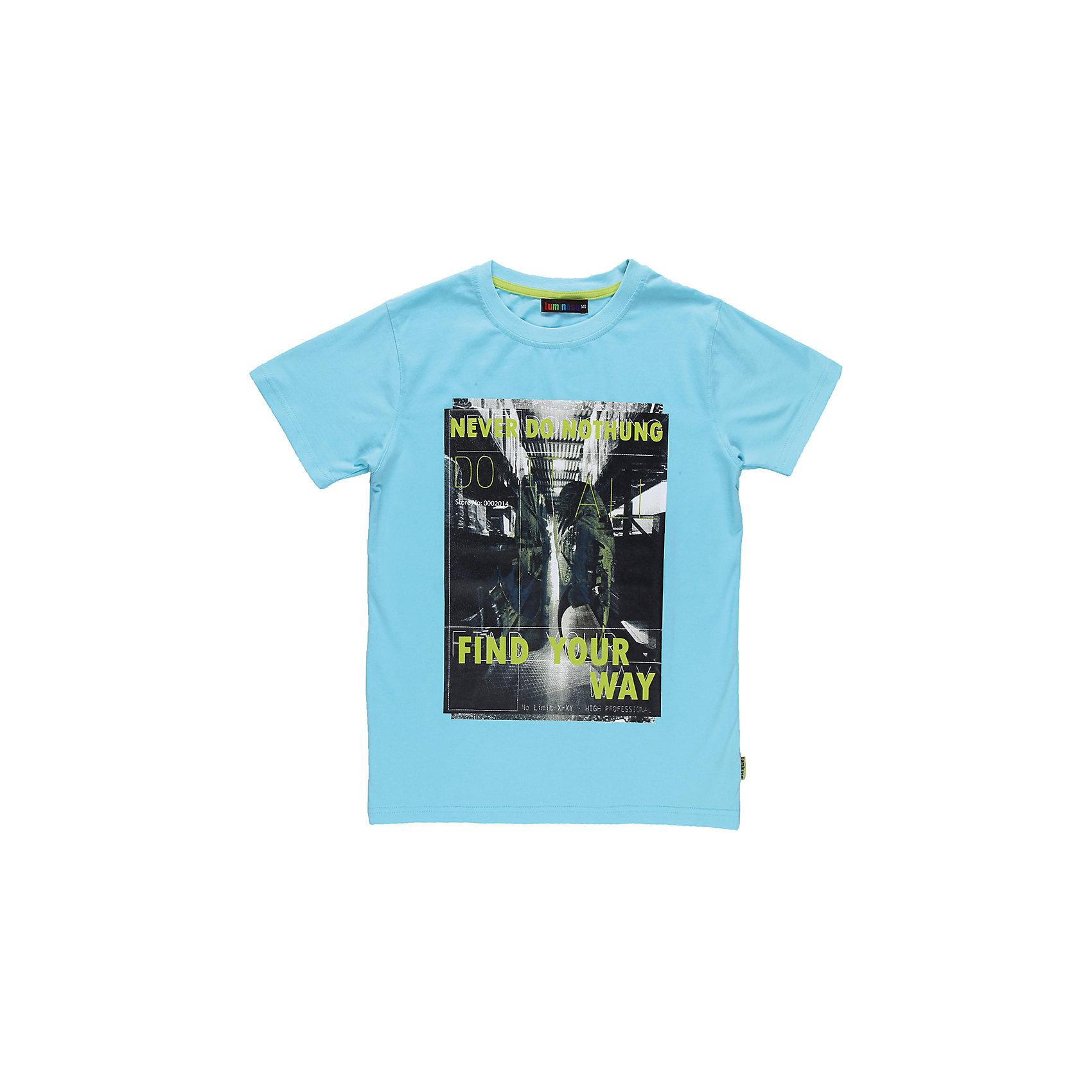 Футболка для мальчика LuminosoЯркая футболка для мальчика. Горловина из эластичной трикотажной резинки контрастного цвета. Футболка украшена ярким принтом.<br>Состав:<br>95% хлопок 5% эластан<br><br>Ширина мм: 199<br>Глубина мм: 10<br>Высота мм: 161<br>Вес г: 151<br>Цвет: голубой<br>Возраст от месяцев: 96<br>Возраст до месяцев: 108<br>Пол: Мужской<br>Возраст: Детский<br>Размер: 134,158,152,146,164,140<br>SKU: 4523230