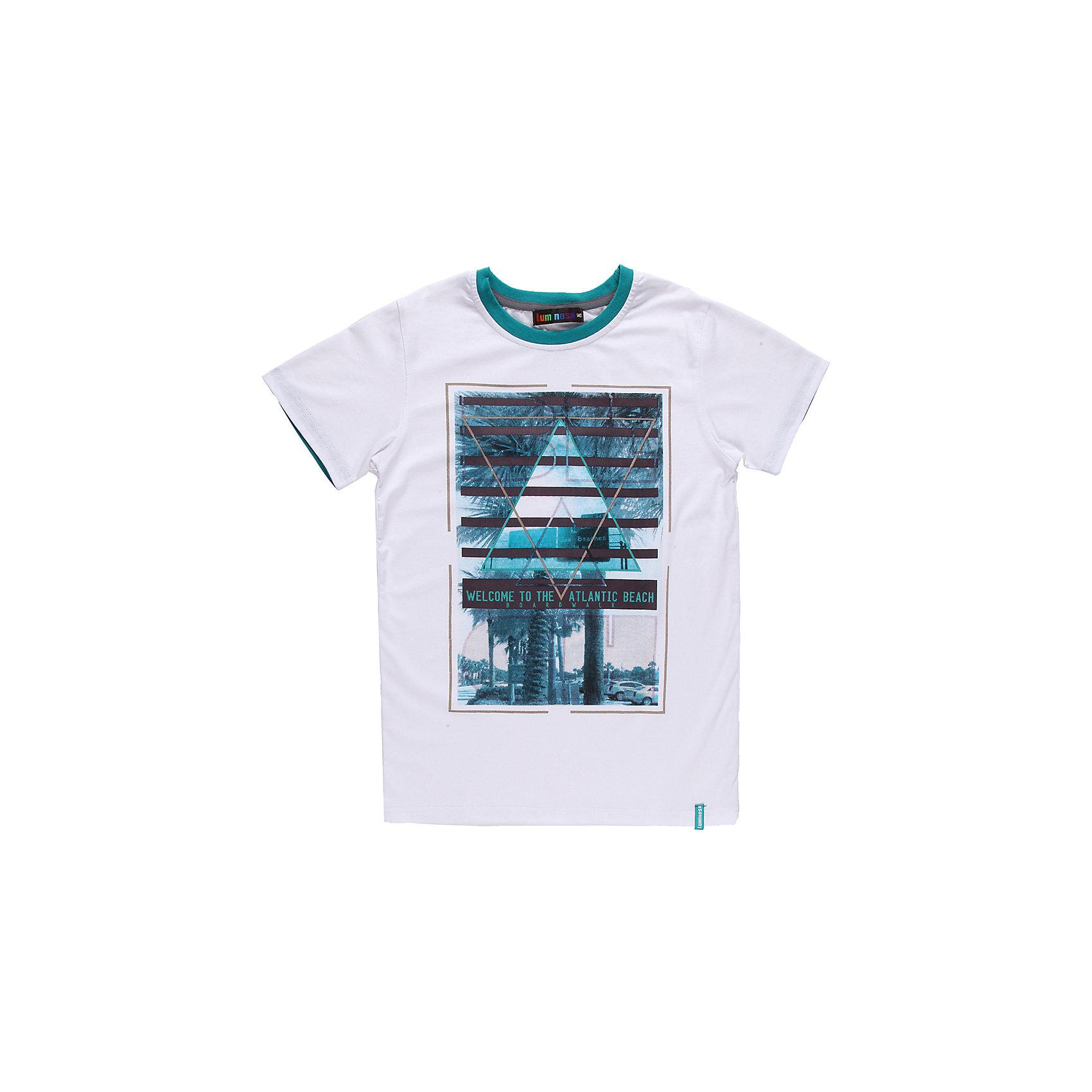 Футболка для мальчика LuminosoЯркая футболка для мальчика. Горловина из эластичной трикотажной резинки контрастного цвета. Футболка украшена ярким принтом.<br>Состав:<br>95% хлопок 5% эластан<br><br>Ширина мм: 199<br>Глубина мм: 10<br>Высота мм: 161<br>Вес г: 151<br>Цвет: белый<br>Возраст от месяцев: 132<br>Возраст до месяцев: 144<br>Пол: Мужской<br>Возраст: Детский<br>Размер: 152,140,146,158,164,134<br>SKU: 4523286