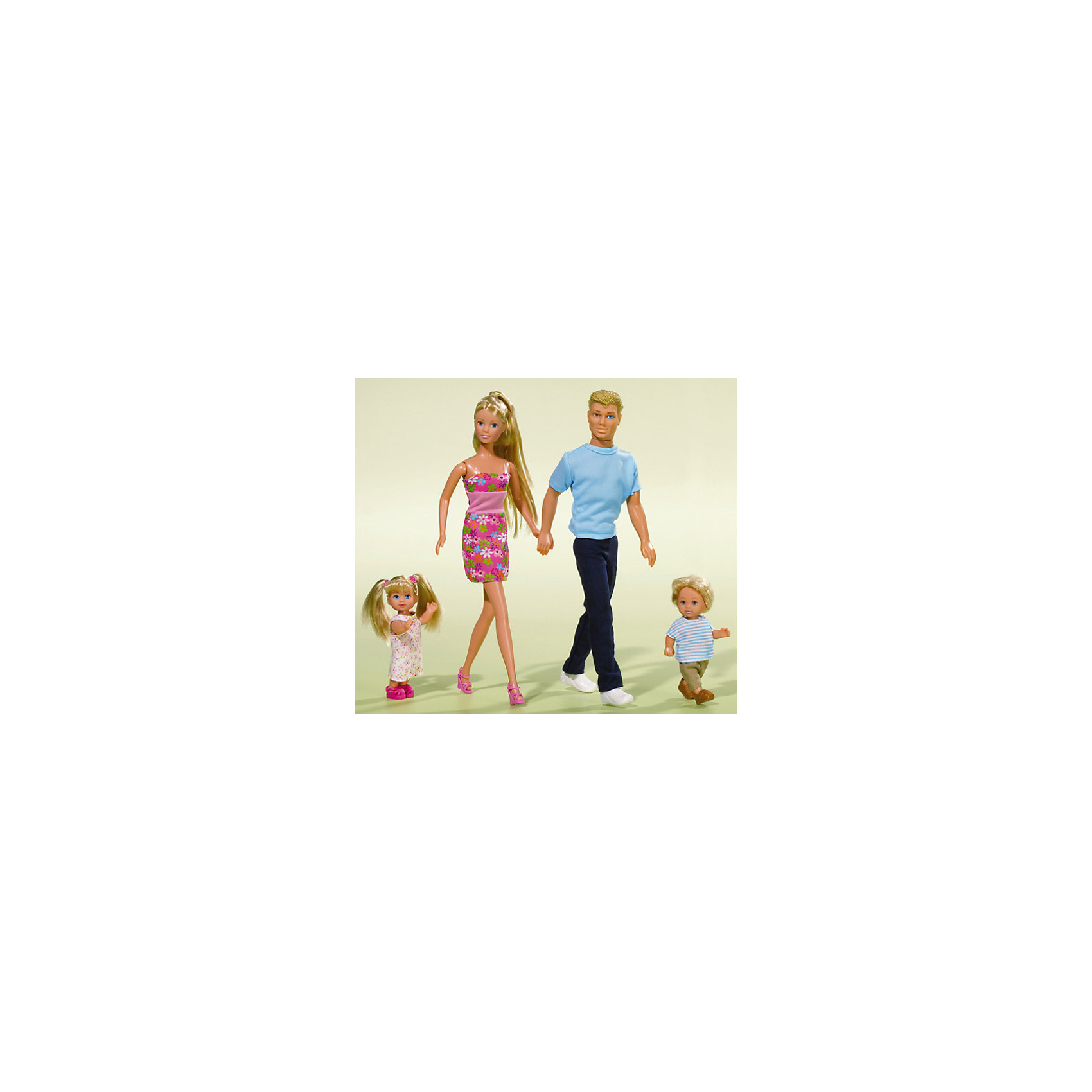 Семья Штеффи Steffi Love, SimbaСемья Штеффи Steffi Love, Simba- прекрасные куклы, которые станут отличным подарком для маленькой девочки.<br>Набор «Семья Штеффи» порадует вашу девочку, ведь ей наверняка очень хотелось бы получить в подарок всю семью любимой куклы. Теперь она сможет представлять и обыгрывать самые разные сюжеты из повседневной жизни, представлять себя на месте мамы или воспроизводить события, которые произошли в ее собственной семье. В набор входят: Штеффи — заботливая мама, ее муж Кевин и два малыша Еви и Тимми. Одежда кукол прекрасно гармонирует друг с другом. У мамы с дочкой роскошные волосы, которые можно расчесывать и придумывать разнообразные прически. Тимми можно просто расчесывать. Волосы Кевина всегда будут выглядеть превосходно, так как они сделаны из того же материала, что и голова. Ручки, ножки и головы всех кукол подвижны. Игрушки изготовлены из высококачественных материалов, не вызывают аллергии.<br><br>Дополнительная информация:<br><br>- В наборе: 4 куклы<br>- Высота кукол: Штеффи - 29 см, Кевин - 30 см, Еви и Тимми - 12 см.<br>- Материал: пластмасса, текстиль<br>- Упаковка: туба<br>- Высота тубы: 99,5 см.<br><br>Набор Семья Штеффи Steffi Love, Simba можно купить в нашем интернет-магазине.<br><br>Ширина мм: 95<br>Глубина мм: 55<br>Высота мм: 300<br>Вес г: 560<br>Возраст от месяцев: 36<br>Возраст до месяцев: 84<br>Пол: Женский<br>Возраст: Детский<br>SKU: 4523965