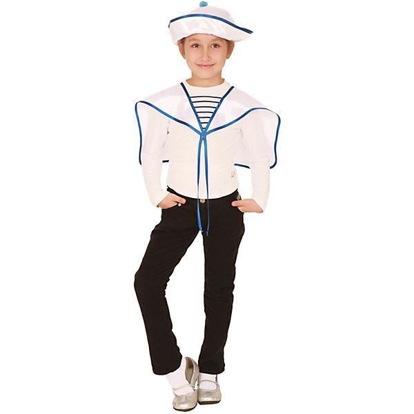 Карнавальный костюм Моряк, ВестификаКарнавальные костюмы для мальчиков<br>Карнавальный костюм Моряк создан по эскизам начала 20 века. Костюм разработан в рамках коллекции «Сам себе костюмер», поэтому состоит всего их 2-х деталей и стоит недорого. Основу костюма составляет гюйс и морская панама универсального размера. По ширине панама регулируется резинкой. Поля панамы могут быть загнуты в разные стороны. Морской воротник украшен завязками.<br><br>Дополнительная информация:<br><br>Крепсатин (100% полиэстер)<br>В комплект входит: Воротник гюйс, панама.<br>Рекомендуется для детей старше 3-х лет для кратковременного ношения. <br>Срок службы 5 лет при аккуратном ношении. <br>Способ ухода за изделием: ручная стирка при температуре 30 С° с применением нейтральных моющих средств. <br>Не отжимать. <br>Не сушить в машине. <br>Гладить при низкой температуре.<br><br>Карнавальный костюм Моряк, Вестифика можно купить в нашем магазине.<br>Ширина мм: 236; Глубина мм: 16; Высота мм: 184; Вес г: 360; Возраст от месяцев: 60; Возраст до месяцев: 84; Пол: Унисекс; Возраст: Детский; Размер: 116/122; SKU: 4528612;