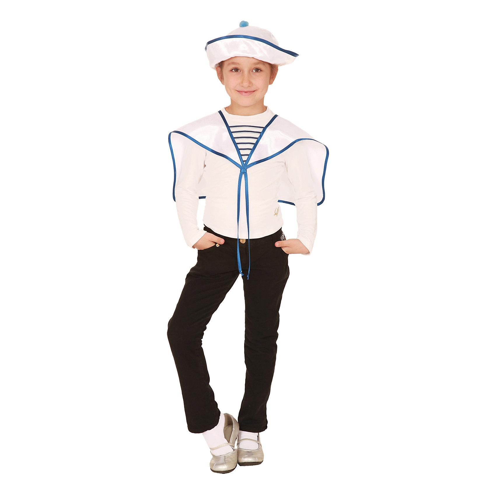Карнавальный костюм Моряк, ВестификаКарнавальные костюмы для мальчиков<br>Карнавальный костюм Моряк создан по эскизам начала 20 века. Костюм разработан в рамках коллекции «Сам себе костюмер», поэтому состоит всего их 2-х деталей и стоит недорого. Основу костюма составляет гюйс и морская панама универсального размера. По ширине панама регулируется резинкой. Поля панамы могут быть загнуты в разные стороны. Морской воротник украшен завязками.<br><br>Дополнительная информация:<br><br>Крепсатин (100% полиэстер)<br>В комплект входит: Воротник гюйс, панама.<br>Рекомендуется для детей старше 3-х лет для кратковременного ношения. <br>Срок службы 5 лет при аккуратном ношении. <br>Способ ухода за изделием: ручная стирка при температуре 30 С° с применением нейтральных моющих средств. <br>Не отжимать. <br>Не сушить в машине. <br>Гладить при низкой температуре.<br><br>Карнавальный костюм Моряк, Вестифика можно купить в нашем магазине.<br><br>Ширина мм: 236<br>Глубина мм: 16<br>Высота мм: 184<br>Вес г: 360<br>Цвет: белый<br>Возраст от месяцев: 60<br>Возраст до месяцев: 84<br>Пол: Унисекс<br>Возраст: Детский<br>Размер: 116/122<br>SKU: 4528612