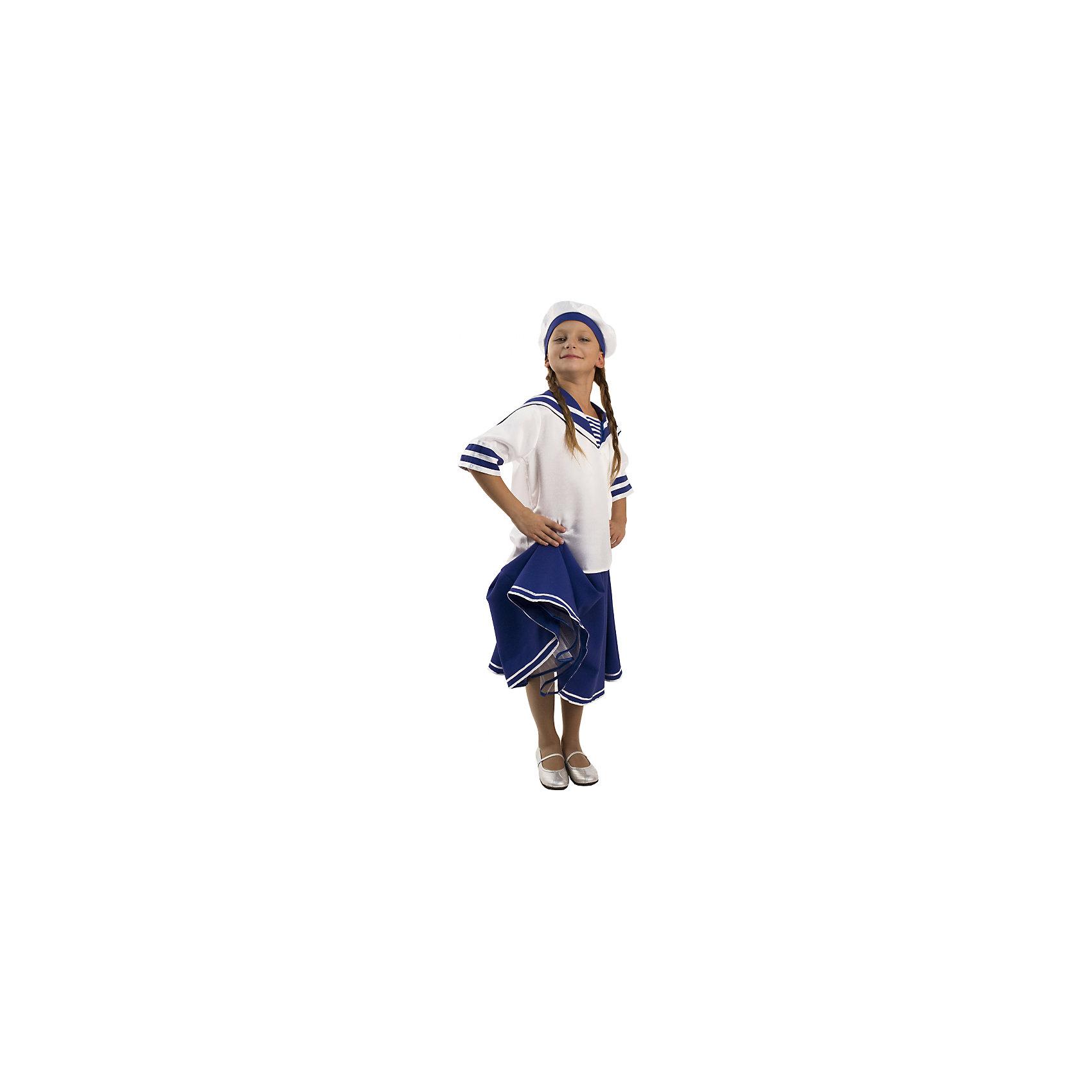 Карнавальный костюм для девочки Морячка, ВестификаКарнавальные костюмы и аксессуары<br>Детский карнавальный костюм Морячка подойдет как для утренника в детском саду, так и для исполнения танцев различными танцевальными коллективами.<br><br>Дополнительная информация:<br><br>В комплект входит: Рубашка с гюйсом, юбка, панама. <br>Материал: крепсатин (100% полиэстер)<br>Рекомендуется для детей старше 3-х лет для кратковременного ношения. <br>Срок службы 5 лет при аккуратном ношении. <br>Способ ухода за изделием: ручная стирка при температуре 30 С° с применением нейтральных моющих средств. <br>Не отжимать. <br>Не сушить в машине. <br>Гладить при низкой температуре.<br><br>Карнавальный костюм для девочки Морячка, Вестифика можно купить в нашем магазине.<br><br>Ширина мм: 236<br>Глубина мм: 16<br>Высота мм: 184<br>Вес г: 360<br>Цвет: белый<br>Возраст от месяцев: 96<br>Возраст до месяцев: 108<br>Пол: Женский<br>Возраст: Детский<br>Размер: 128/134,116/122<br>SKU: 4528614