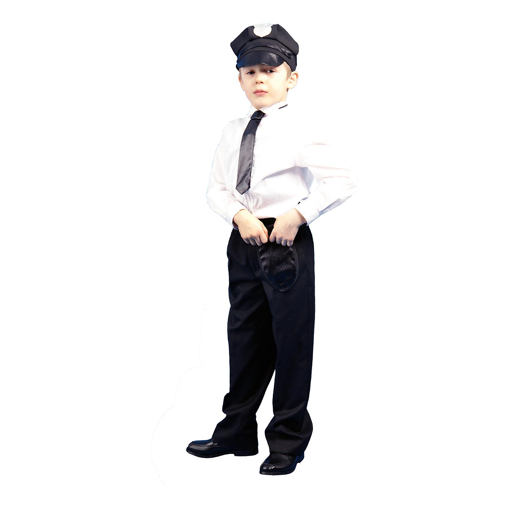 Карнавальный костюм Полицейский, ВестификаКарнавальный костюм Полицейский разработан специально для детей. Он отлично подходит для ролевых игр дома и для праздников в детским саду. Костюм Полицейского состоит из шапки, выполненной из габардина, кобуры и галстука на резинке. На шапку нанесена аппликация из парчи в виде звезды. Костюм желательно дополнить белой рубашкой, черными брюками или джинсами, черными ботинками.<br><br>Дополнительная информация:<br><br>В комплект входит: Кепка, галстук, кобура.<br>Материал габардин (100% полиэстер)<br>Рекомендуется для детей старше 3-х лет для кратковременного ношения. <br>Срок службы 5 лет при аккуратном ношении. <br>Способ ухода за изделием: ручная стирка при температуре 30 С° с применением нейтральных моющих средств. <br>Не отжимать. <br>Не сушить в машине. <br>Гладить при низкой температуре.<br><br>Карнавальный костюм Полицейский, Вестифика можно купить в нашем магазине.<br><br>Ширина мм: 236<br>Глубина мм: 16<br>Высота мм: 184<br>Вес г: 360<br>Цвет: разноцветный<br>Возраст от месяцев: 60<br>Возраст до месяцев: 84<br>Пол: Унисекс<br>Возраст: Детский<br>Размер: 116/122<br>SKU: 4528619