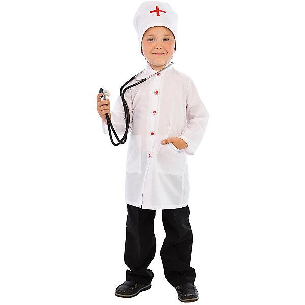 Карнавальный костюм Доктор Айболит, ВестификаКарнавальные костюмы для мальчиков<br>Добрый Доктор Айболит известен не только мальчикам и девочкам, но и, как описано в одноименной сказке, даже всем зверятам в разных странах. Кто не хочет быть похожим на Доктора Айболита? Именно поэтому мы и придумали такой замечательный карнавальный костюм «Доктор». Он очень пригодится для ролевых игр дома и в детском саду, и конечно для различных театральных постановок. Основу костюма составляет белый халат с воротником стоечкой, отделанный декоративными красными пуговицами накладными карманами. На спине халат можно затянуть поясом на талии. Неотъемлемой частью гардероба настоящего доктора является также колпак, украшенный красным крестом. По ширине колпак регулируется завязочками. Костюм универсальный и подходит одинаково как для мальчиков, так и для девочек. Рекомендуем дополнить костюм брюками или юбкой и туфлями.<br><br>Дополнительная информация:<br><br>В комплект входит:<br>Халат, шапочка. Материал тиси (80% полиэстер, 20% хлопок)<br>Рекомендуется для детей старше 3-х лет для кратковременного ношения. <br>Срок службы 5 лет при аккуратном ношении. <br>Способ ухода за изделием: ручная стирка при температуре 30 С° с применением нейтральных моющих средств. <br>Не отжимать. <br>Не сушить в машине. <br>Гладить при низкой температуре.<br><br>Карнавальный костюм Доктор Айболит, Вестифика можно купить в нашем магазине.<br>Ширина мм: 236; Глубина мм: 16; Высота мм: 184; Вес г: 360; Возраст от месяцев: 48; Возраст до месяцев: 60; Пол: Унисекс; Возраст: Детский; Размер: 104/110,116/122; SKU: 4528621;