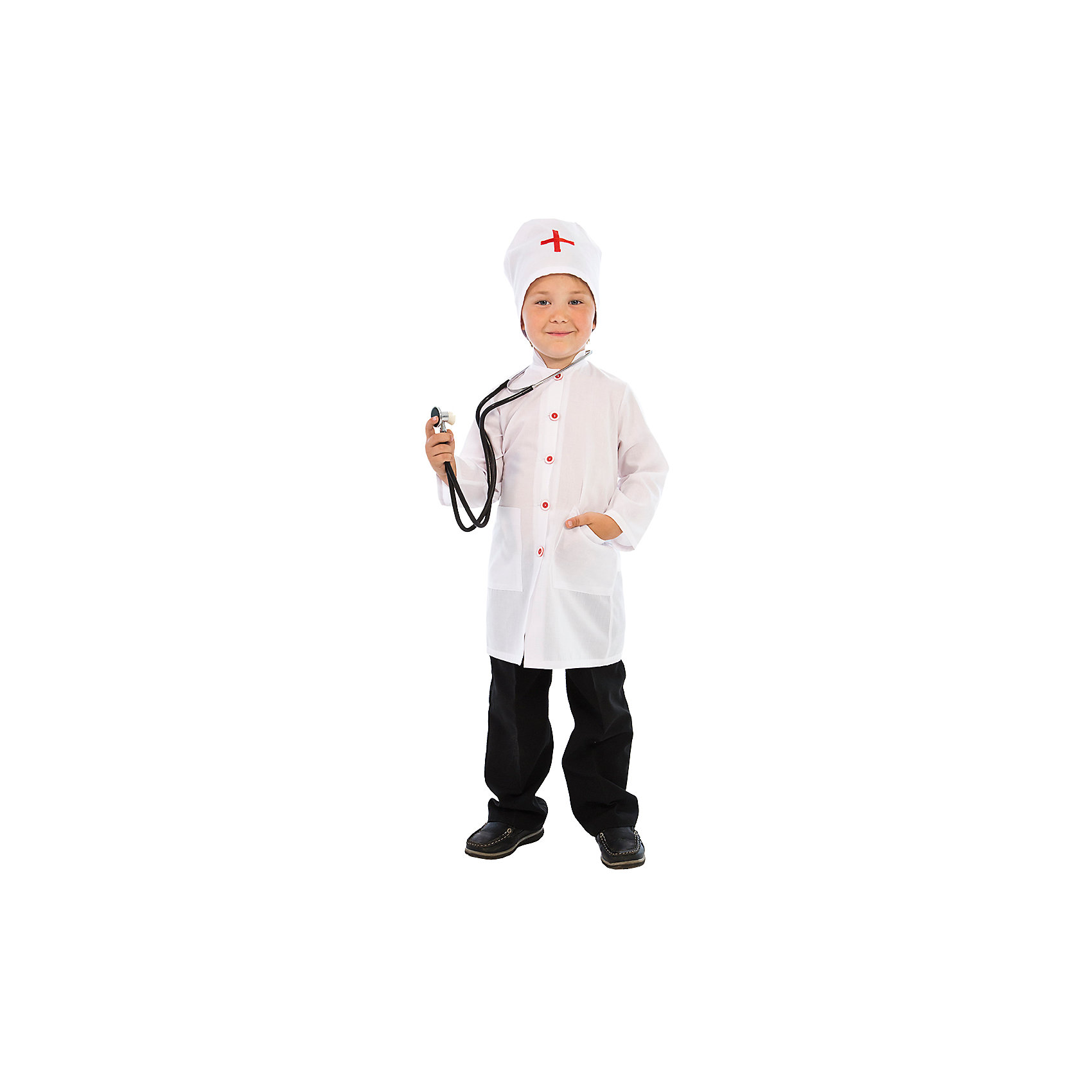 Карнавальный костюм Доктор Айболит, ВестификаДобрый Доктор Айболит известен не только мальчикам и девочкам, но и, как описано в одноименной сказке, даже всем зверятам в разных странах. Кто не хочет быть похожим на Доктора Айболита? Именно поэтому мы и придумали такой замечательный карнавальный костюм «Доктор». Он очень пригодится для ролевых игр дома и в детском саду, и конечно для различных театральных постановок. Основу костюма составляет белый халат с воротником стоечкой, отделанный декоративными красными пуговицами накладными карманами. На спине халат можно затянуть поясом на талии. Неотъемлемой частью гардероба настоящего доктора является также колпак, украшенный красным крестом. По ширине колпак регулируется завязочками. Костюм универсальный и подходит одинаково как для мальчиков, так и для девочек. Рекомендуем дополнить костюм брюками или юбкой и туфлями.<br><br>Дополнительная информация:<br><br>В комплект входит:<br>Халат, шапочка. Материал тиси (80% полиэстер, 20% хлопок)<br>Рекомендуется для детей старше 3-х лет для кратковременного ношения. <br>Срок службы 5 лет при аккуратном ношении. <br>Способ ухода за изделием: ручная стирка при температуре 30 С° с применением нейтральных моющих средств. <br>Не отжимать. <br>Не сушить в машине. <br>Гладить при низкой температуре.<br><br>Карнавальный костюм Доктор Айболит, Вестифика можно купить в нашем магазине.<br><br>Ширина мм: 236<br>Глубина мм: 16<br>Высота мм: 184<br>Вес г: 360<br>Цвет: разноцветный<br>Возраст от месяцев: 60<br>Возраст до месяцев: 84<br>Пол: Унисекс<br>Возраст: Детский<br>Размер: 116/122,104/110<br>SKU: 4528621