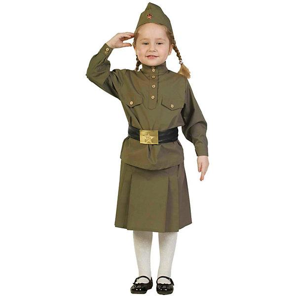Гимнастерка с юбкой, ВестификаКарнавальные костюмы для девочек<br>В последние годы все более актуальным становится военно-патриотическое воспитание. Одним из самых уважаемых праздников является День Победы. Взрослые и дети одеваются в форму времен ВОВ и чествуют ветеранов. Комплект, разработанный специально к празднику День Победы, состоит из гимнастерки, пилотки, пояса и юбки. Гимнастерка выкроена по лекалам времен ВОВ. Она украшена лацканами на груди и пуговицами цвета латуни. Юбка собрана на талии на резинку. Пилотка оригинальной формы с настоящей звездой отлично садится а голову. Широкий пояс регулируется по ширине и украшен оригинальной пряжкой-звездой. Рекомендуем дополнить комплект вещмешком и черными сапогами, имитацию которых можно приобрести отдельно.<br><br>Дополнительная информация:<br><br>Ткани: Бязь (100% хлопок), Кожзаменитель<br>В комплект входит: Гимнастерка из бязи<br>Пилотка из бязи со звездой<br>Ремень из кожзаменителя с металлической звездой <br>Юбка из бязи<br>Рекомендуется для детей старше 3-х лет для кратковременного ношения. <br>Срок службы 5 лет при аккуратном ношении. <br>Способ ухода за изделием: ручная стирка при температуре 30 С° с применением нейтральных моющих средств. <br>Не отжимать. <br>Не сушить в машине. <br>Гладить при низкой температуре.<br><br>Гимнастерку с юбкой, Вестифика можно купить в нашем магазине.<br><br>Ширина мм: 236<br>Глубина мм: 16<br>Высота мм: 184<br>Вес г: 360<br>Цвет: белый<br>Возраст от месяцев: 96<br>Возраст до месяцев: 108<br>Пол: Женский<br>Возраст: Детский<br>Размер: 128/134,116/122,104/110,140/146<br>SKU: 4528638