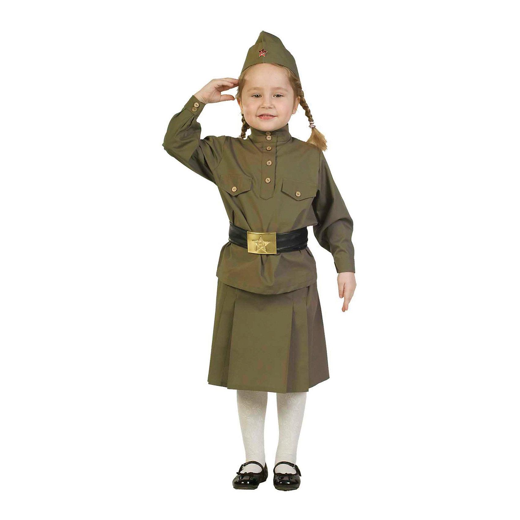 Гимнастерка с юбкой, ВестификаКарнавальные костюмы и аксессуары<br>В последние годы все более актуальным становится военно-патриотическое воспитание. Одним из самых уважаемых праздников является День Победы. Взрослые и дети одеваются в форму времен ВОВ и чествуют ветеранов. Комплект, разработанный специально к празднику День Победы, состоит из гимнастерки, пилотки, пояса и юбки. Гимнастерка выкроена по лекалам времен ВОВ. Она украшена лацканами на груди и пуговицами цвета латуни. Юбка собрана на талии на резинку. Пилотка оригинальной формы с настоящей звездой отлично садится а голову. Широкий пояс регулируется по ширине и украшен оригинальной пряжкой-звездой. Рекомендуем дополнить комплект вещмешком и черными сапогами, имитацию которых можно приобрести отдельно.<br><br>Дополнительная информация:<br><br>Ткани: Бязь (100% хлопок), Кожзаменитель<br>В комплект входит: Гимнастерка из бязи<br>Пилотка из бязи со звездой<br>Ремень из кожзаменителя с металлической звездой <br>Юбка из бязи<br>Рекомендуется для детей старше 3-х лет для кратковременного ношения. <br>Срок службы 5 лет при аккуратном ношении. <br>Способ ухода за изделием: ручная стирка при температуре 30 С° с применением нейтральных моющих средств. <br>Не отжимать. <br>Не сушить в машине. <br>Гладить при низкой температуре.<br><br>Гимнастерку с юбкой, Вестифика можно купить в нашем магазине.<br><br>Ширина мм: 236<br>Глубина мм: 16<br>Высота мм: 184<br>Вес г: 360<br>Цвет: разноцветный<br>Возраст от месяцев: 96<br>Возраст до месяцев: 108<br>Пол: Женский<br>Возраст: Детский<br>Размер: 128/134,104/110,116/122,140/146<br>SKU: 4528638