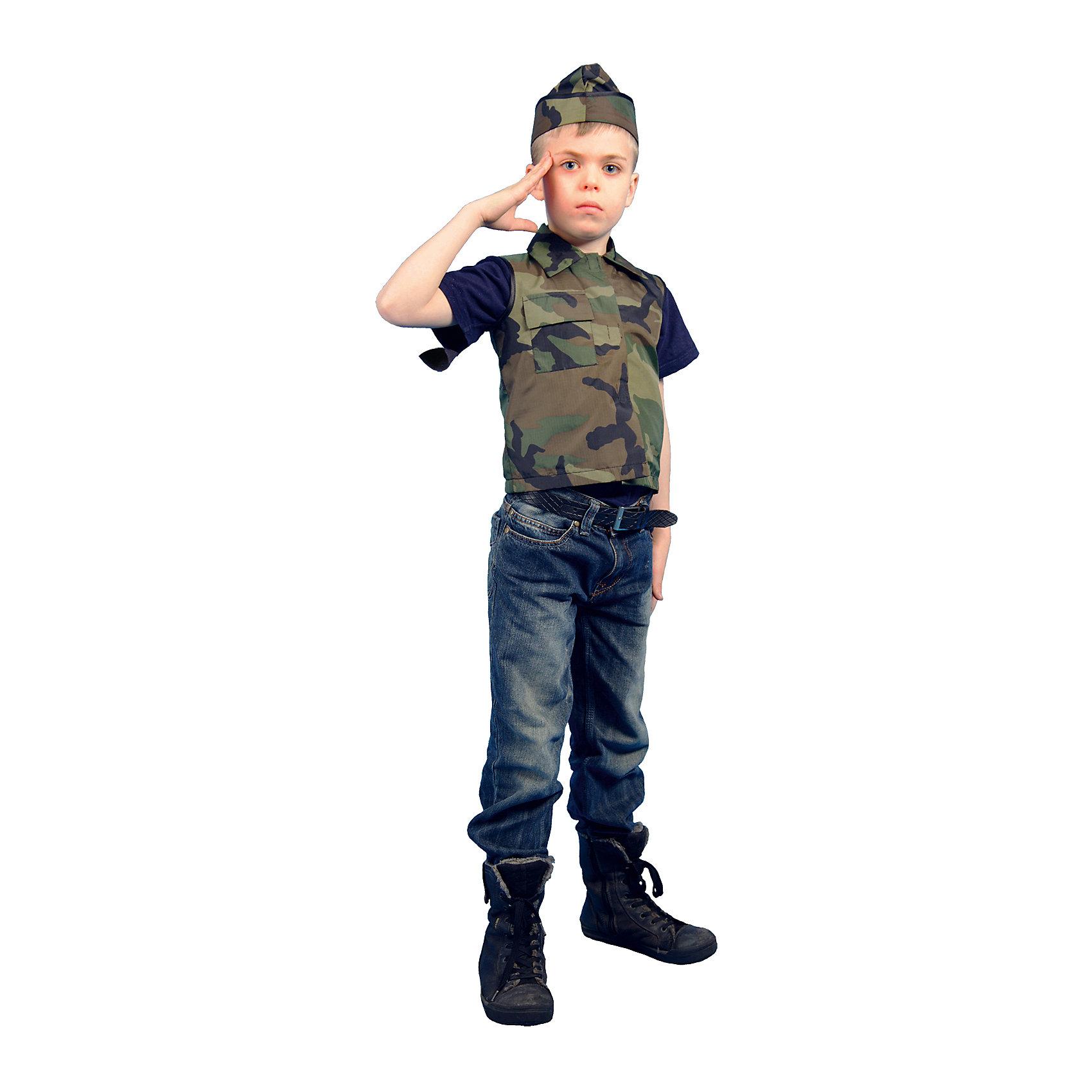 Карнавальный костюм Солдат, ВестификаКостюм Военного разработан специально для праздника, посвященного Дню Защитника отечества - 23 февраля. Военный костюм предназначен для утренников в детском саду. Он выполнен из камуфляжной ткани. Жилетка застегивается на груди на липучку, беретка регулируется по ширине шнурком. Широкие брюки, собранные на резинку, не стесняют движения. Костюм Военного понравится мальчикам. Рекомендуем дополнить костюм темными ботинками в цвет изделия и темной футболкой.<br><br>Дополнительная информация:<br><br>Комплектация: Жилет, пилотка<br>Материал: Саржа (100% хлопок)<br>Рекомендуется для детей старше 3-х лет для кратковременного ношения. <br>Срок службы 5 лет при аккуратном ношении. <br>Способ ухода за изделием: ручная стирка при температуре 30 С° с применением нейтральных моющих средств. <br>Не отжимать. <br>Не сушить в машине. <br>Гладить при низкой температуре.<br><br>Карнавальный костюм Солдат, Вестифика можно купить в нашем магазине.<br><br>Ширина мм: 236<br>Глубина мм: 16<br>Высота мм: 184<br>Вес г: 360<br>Цвет: разноцветный<br>Возраст от месяцев: 60<br>Возраст до месяцев: 84<br>Пол: Унисекс<br>Возраст: Детский<br>Размер: 116/122,128/134,140/146<br>SKU: 4528646