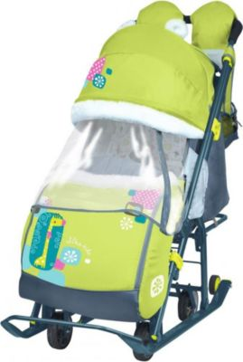 Санки-коляска Ника детям 7-2, Коллаж-жираф, лимонный