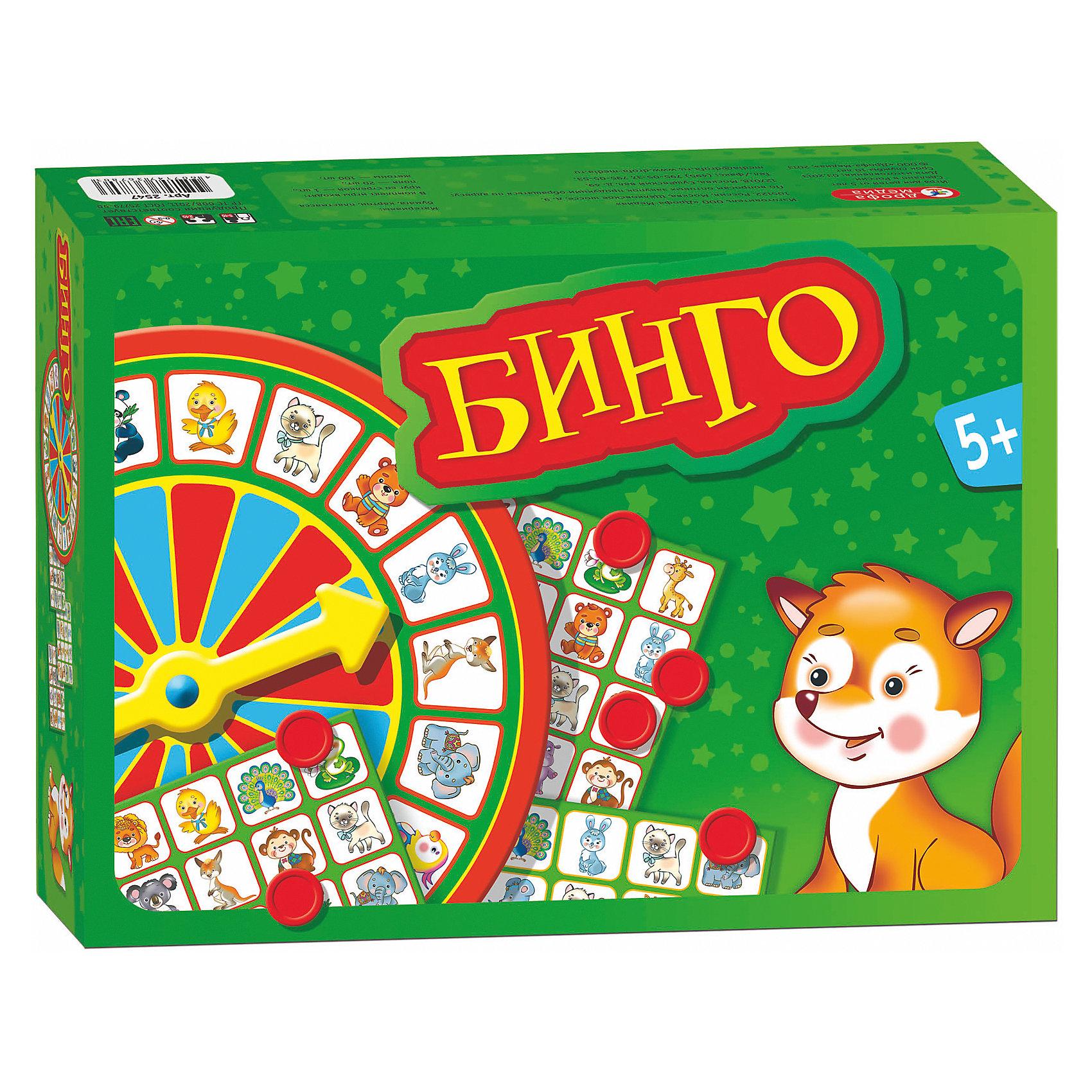 Игра Бинго, Дрофа-МедиаИгра Бинго, Дрофа-Медиа - увлекательная игра, в которую можно играть всей семьей. В комплекте Вы найдете круг со стрелкой, игровые поля и жетоны. Все участники берут по одному игровому полю. Ведущий или все дети по очереди вращают стрелку на колесе с изображением животных. Если игроки выбрали поля с красными рамочками (где животные встречаются по одному разу), то все участники, у кого есть животное, на которое указала стрелка, накрывают его жетоном. Если у игроков поля с желтыми рамочками (каждое животное встречается на поле два раза), то участник может закрыть жетоном только одну клетку из двух, выбрав наиболее выгодный вариант. Поставленный на поле жетон в дальнейшем нельзя перемещать на другую клетку. Победителем становится игрок, первым закрывший 4 клетки, лежащие на одной горизонтали, вертикали или диагонали.<br><br>Дополнительная информация:<br><br>- Серия: Лото.<br>- В комплекте: круг со стрелкой - 1 шт., игровые поля -20 шт., жетоны - 100 шт.<br>- Материал: бумага, картон, пластик.<br>- Размер упаковки: 18,5 x 26,5 x 6,5 см.<br>- Вес: 0,272 кг.<br><br>Игру Бинго, Дрофа-Медиа, можно купить в нашем интернет-магазине.<br><br>Ширина мм: 185<br>Глубина мм: 265<br>Высота мм: 65<br>Вес г: 190<br>Возраст от месяцев: 60<br>Возраст до месяцев: 108<br>Пол: Унисекс<br>Возраст: Детский<br>SKU: 4533292