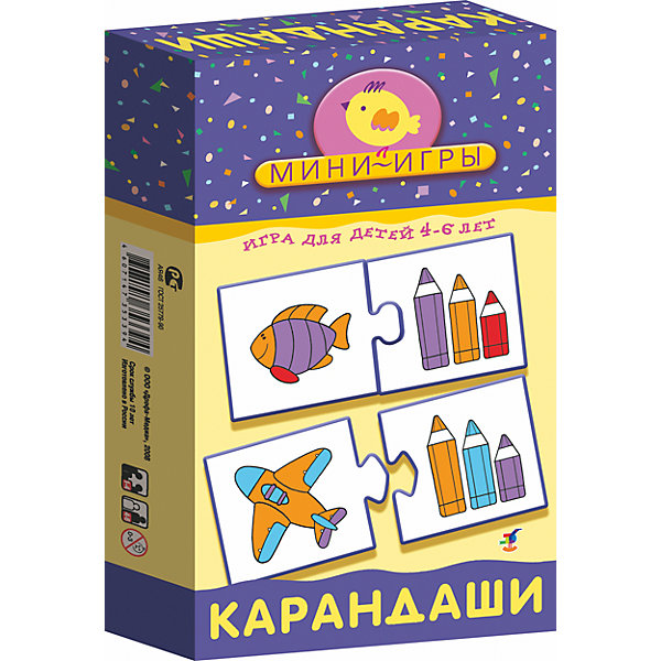 Мини-игра Карандаши, Дрофа-МедиаОкружающий мир<br>Мини-игра Карандаши, Дрофа-Медиа  - красочное игровое пособие, которое поможет Вашему ребенку закрепить знание основных цветов, понятий длиннее - короче, больше - меньше. В комплекте 24 карточки, которые скрепляются между собой по принципу пазла, на одной части - изображение трех карандашей разного цвета и разной длины, на другой - картинки с различными предметами. Подробная инструкция предлагает три игры с этими карточками. В первой игре Парочки малышу надо найти пары карточек: предмет и карандаши, на которых одинаковые цвета представлены в равных пропорциях. В игре Прятки надо как можно быстрее найти парные карточки: любой предмет и карандаши. А в игре Кто самый внимательный надо найти пары к своим карточкам с предметами. В игре могут участвовать 1-4 игрока. Для детей 4-6 лет. Игра способствует развитию речи, внимания, памяти и мышления.<br><br>Дополнительная информация:<br><br>- Серия: Мини-игры.<br>- В комплекте: 24 карточки, инструкция.<br>- Материал: бумага. картон.<br>- Размер упаковки: 20 x 12 x 3,5 см.<br>- Вес: 174 гр.<br><br>Мини-игру Карандаши, Дрофа-Медиа, можно купить в нашем интернет-магазине.<br>Ширина мм: 120; Глубина мм: 200; Высота мм: 35; Вес г: 700; Возраст от месяцев: 48; Возраст до месяцев: 96; Пол: Унисекс; Возраст: Детский; SKU: 4533295;