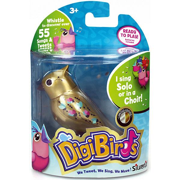 Золотая поющая птичка, DigiBirdsИнтерактивные животные<br>Очаровательная золотая птичка станет прекрасным подарком и обязательно порадует ребенка. Она знает около 55 мелодий, чтобы птичка пели или щебетали, на нее нужно подуть или посвистеть в свисток. Для каждой игрушки предусмотрено кольцо-свисток, которое надевается на палец, на нем можно закрепить свою птичку. <br><br>Дополнительная информация:<br><br>- Материал: пластик, металл.<br>- Размер упаковки: 15,2х6,4х10 см.<br>- 2 режима пения: соло и хор.<br>- 55 мелодий.<br>- Элемент питания: батарейки LR44 (в комплекте).<br><br>Золотую поющую птичку, DigiBirds (ДигиБердс), можно купить в нашем магазине.<br>Ширина мм: 64; Глубина мм: 152; Высота мм: 102; Вес г: 82; Возраст от месяцев: 36; Возраст до месяцев: 84; Пол: Унисекс; Возраст: Детский; SKU: 4533891;