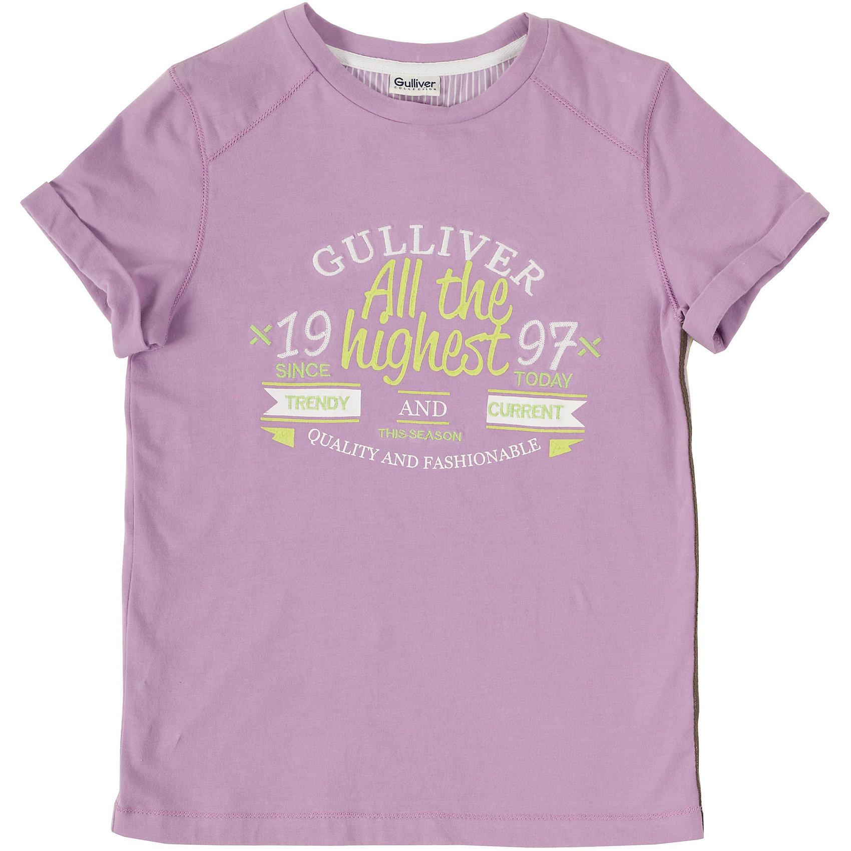Футболка для мальчика GulliverСтильная футболка - изделие из разряда must have! Мягкий хлопок с эластаном обеспечит прекрасный внешний вид и комфорт в повседневной носке. Вы хотите купить интересную цветную футболку для мальчика? Предпочитаете приобрести модную необычную футболку и качественную брендовую вещь, которая добавит в летний гардероб ребенка изюминку и индивидуальность? Тогда эта классная футболка с принтом - отличный выбор!<br>Состав:<br>95% хлопок           5% эластан<br><br>Ширина мм: 199<br>Глубина мм: 10<br>Высота мм: 161<br>Вес г: 151<br>Цвет: фиолетовый<br>Возраст от месяцев: 84<br>Возраст до месяцев: 96<br>Пол: Мужской<br>Возраст: Детский<br>Размер: 128,134,140,152,158,146<br>SKU: 4534255