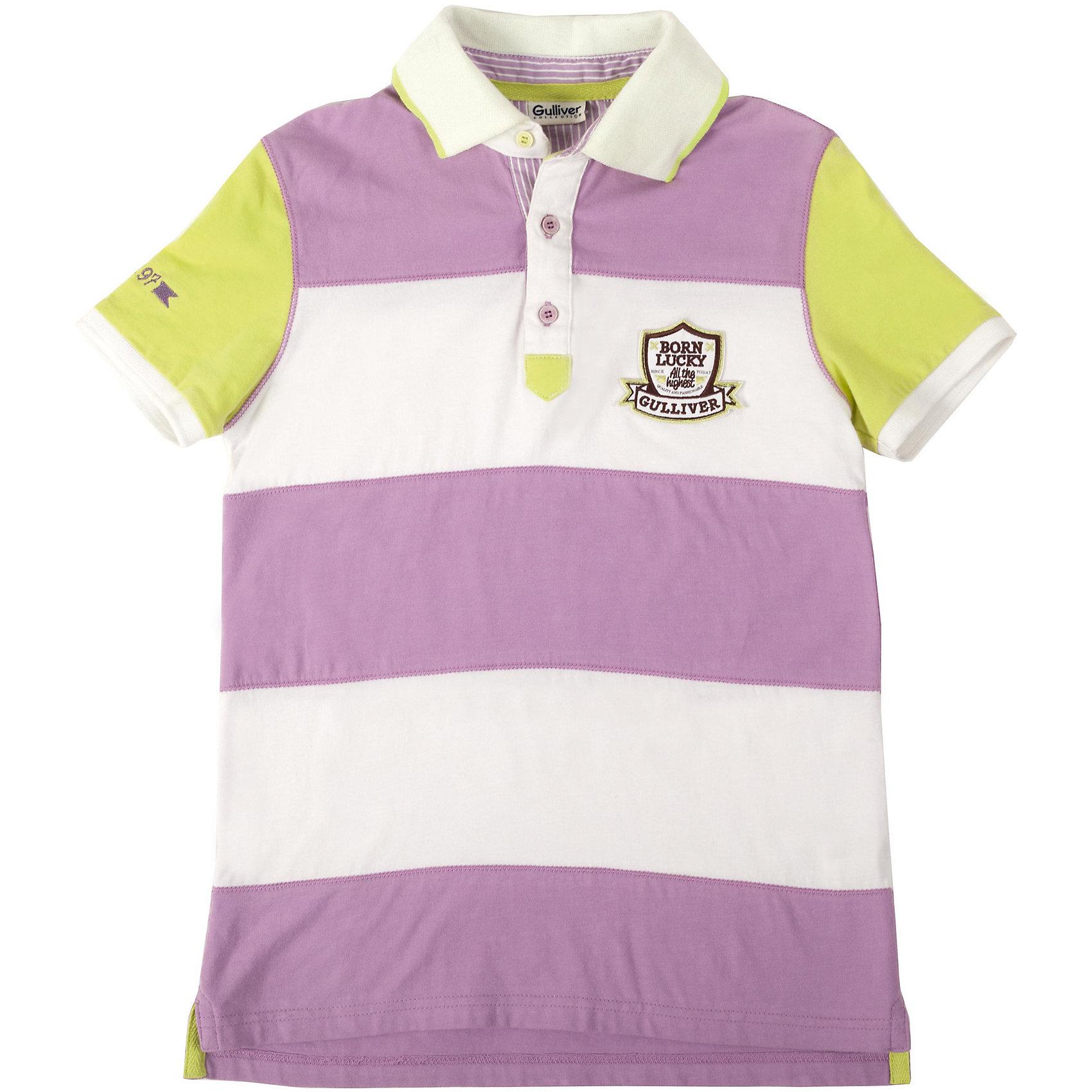 Футболка-поло для мальчика GulliverФутболки, поло и топы<br>Поло для мальчика с коротким рукавом- классика жанра! Рубашка поло - основа детского элегантного гардероба в спортивном стиле! Удобная, комфортная, красивая вещь, рубашка поло в полоску позволит создать стильный образ, который придется по душе и родителям, и ребенку. Изюминка данной модели в интересной необычной комбинации широкой сиреневой полосы на полочке и спинке и однотонных рукавов, выполненных в другом цвете. Это придает модели новизну и свежесть. Стильное поло для мальчика с вышивкой, принтом и шевроном, а также с оригинальной интересной отделкой внутренней части воротника выглядит потрясающе. Словом, если вы решили купить поло и порадовать ребенка стильной, удобной, практичной вещью, эта модель - то, что вам нужно!<br>Состав:<br>95% хлопок           5% эластан<br><br>Ширина мм: 199<br>Глубина мм: 10<br>Высота мм: 161<br>Вес г: 151<br>Цвет: фиолетовый<br>Возраст от месяцев: 132<br>Возраст до месяцев: 144<br>Пол: Мужской<br>Возраст: Детский<br>Размер: 152,134,128,146,158,140<br>SKU: 4534276