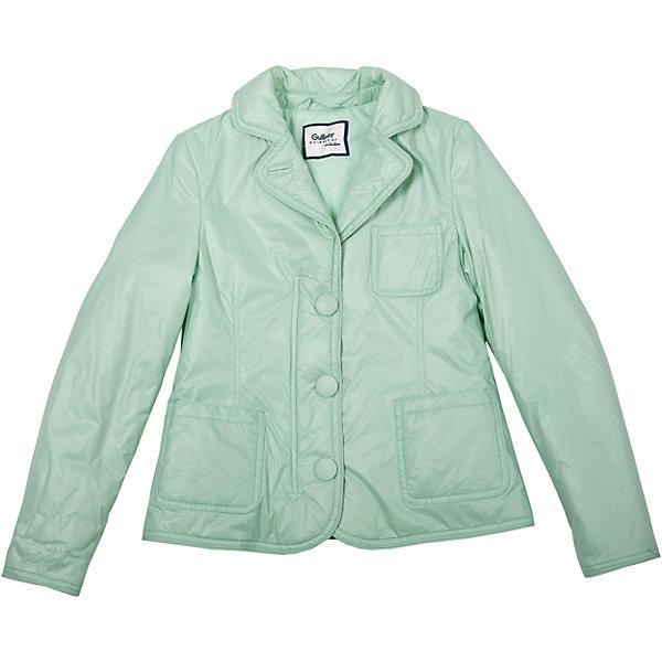 Куртка для девочки GulliverВерхняя одежда<br>Плащевой пиджак на синтепоне - образец элегантности и комфорта! Выполненный из тонкой плащевки на трикотажной подкладке, нежный, легкий, уютный, он прекрасно дополнит любой образ из коллекции Апрель. Чуть приталенный силуэт, английский воротник, накладные карманы. Мятный плащевой пиджак - классика стиля casual. Если вы решили сделать весенний гардероб ребенка модным, комфортным, интересным, вам стоит купить утепленный пиджак, а не банальную куртку. Стильная, свежая, оригинальная модель займет достойное место в гардеробе юной модницы.<br>Состав:<br>верх: 100% нейлон;  подкл.: 50% хлопок 50% полиэстер/ 100% полиэстер; утепл.: 100% полиэстер<br><br>Ширина мм: 356<br>Глубина мм: 10<br>Высота мм: 245<br>Вес г: 519<br>Цвет: зеленый<br>Возраст от месяцев: 144<br>Возраст до месяцев: 156<br>Пол: Женский<br>Возраст: Детский<br>Размер: 128,158,140,152,146,134<br>SKU: 4534399