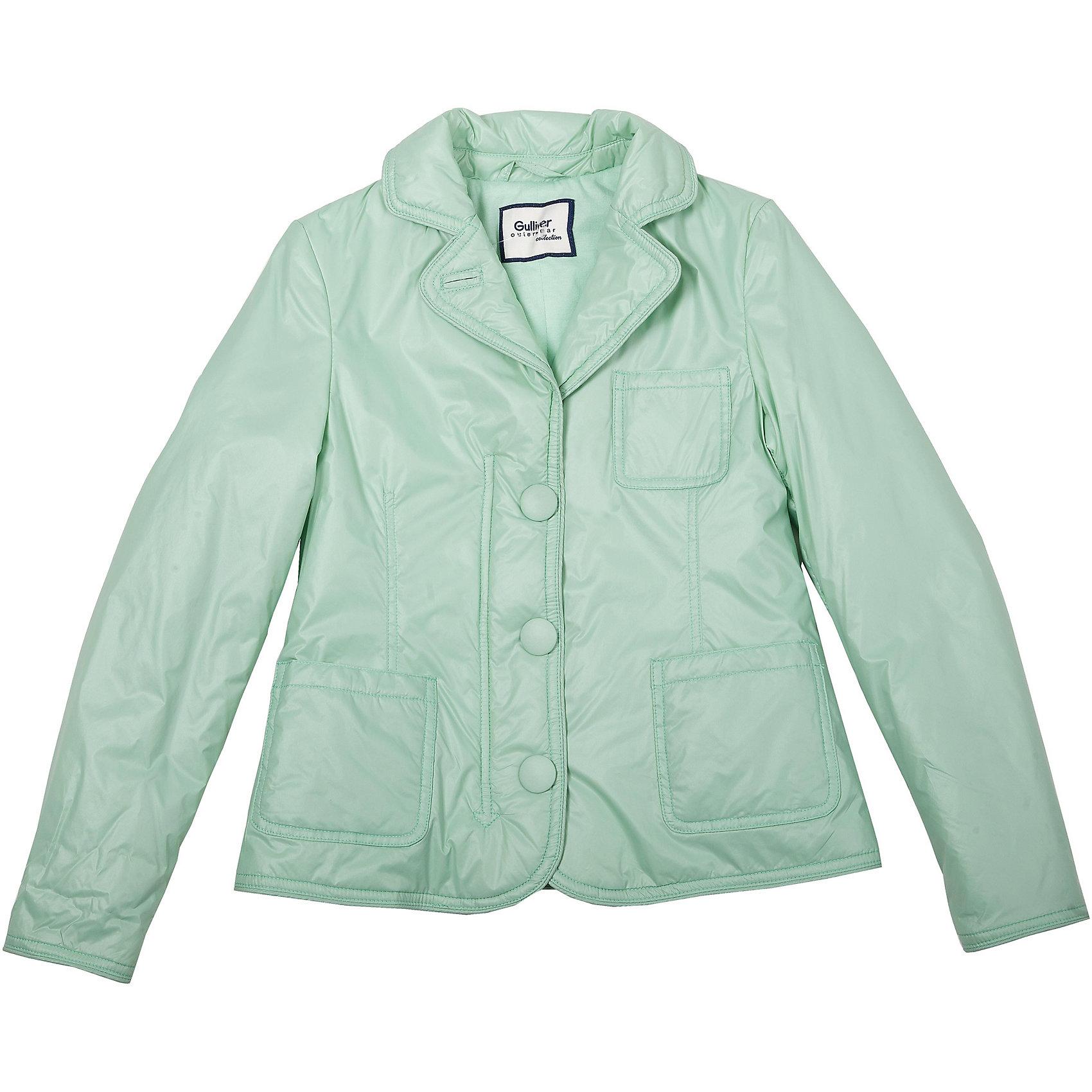 Куртка для девочки GulliverПлащевой пиджак на синтепоне - образец элегантности и комфорта! Выполненный из тонкой плащевки на трикотажной подкладке, нежный, легкий, уютный, он прекрасно дополнит любой образ из коллекции Апрель. Чуть приталенный силуэт, английский воротник, накладные карманы. Мятный плащевой пиджак - классика стиля casual. Если вы решили сделать весенний гардероб ребенка модным, комфортным, интересным, вам стоит купить утепленный пиджак, а не банальную куртку. Стильная, свежая, оригинальная модель займет достойное место в гардеробе юной модницы.<br>Состав:<br>верх: 100% нейлон;  подкл.: 50% хлопок 50% полиэстер/ 100% полиэстер; утепл.: 100% полиэстер<br><br>Ширина мм: 356<br>Глубина мм: 10<br>Высота мм: 245<br>Вес г: 519<br>Цвет: зеленый<br>Возраст от месяцев: 132<br>Возраст до месяцев: 144<br>Пол: Женский<br>Возраст: Детский<br>Размер: 146,134,152,128,140,158<br>SKU: 4534399