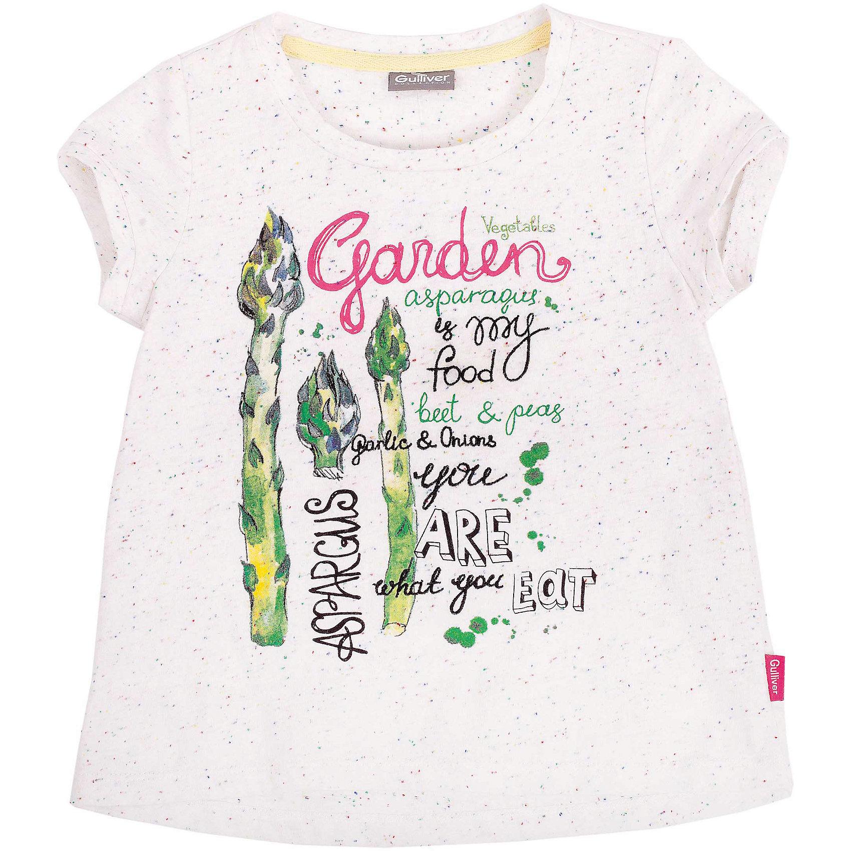 Футболка для девочки GulliverБелые футболки с коротким рукавом в сезоне Весна/Лето 2016 - изделия из разряда must have! А белые футболки с рисунком и яркими цветовыми вкраплениями - тем более! Стильный дизайн, модный трапециевидный силуэт с укороченной линией переда, высокое качество исполнения принесут удовольствие от покупки и подарят отличное настроение!<br>Состав:<br>90% хлопок    10% полиэстер<br><br>Ширина мм: 199<br>Глубина мм: 10<br>Высота мм: 161<br>Вес г: 151<br>Цвет: белый<br>Возраст от месяцев: 48<br>Возраст до месяцев: 60<br>Пол: Женский<br>Возраст: Детский<br>Размер: 110,122,116,98,104<br>SKU: 4534485