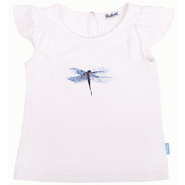 Блузка для девочки GulliverФутболки, поло и топы<br>Белые футболки для девочек - важная составляющая летнего гардероба! Но не каждая белая футболка сделает образ свежим и выразительным. Если вы хотите купить оригинальную белую футболку с нежным принтом, которая станет настоящим подарком для юной леди, выбор этой модели вполне оправдан! Модная белая футболка из прохладной вискозы с эластаном с оригинальными крылышками гарантирует красивую комфортную посадку на фигуре, а также  легкость и романтичность образа.<br>Состав:<br>95% вискоза     5% эластан<br>Ширина мм: 186; Глубина мм: 87; Высота мм: 198; Вес г: 197; Цвет: белый; Возраст от месяцев: 60; Возраст до месяцев: 72; Пол: Женский; Возраст: Детский; Размер: 116,110,104,98; SKU: 4534592;