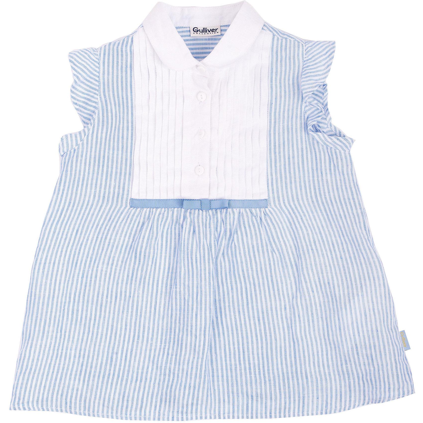 Блузка для девочки GulliverБлузки и рубашки<br>Легкая красивая блузка из льна – замечательный вариант для жаркого лета. Она выглядит нежно и романтично, благодаря деликатной полоске, белоснежной манишке и игривым крылышкам. Стильная блузка - хит сезона Весна/Лето 2016, а значит необходимая вещь в гардеробе юной модницы. В ней, как говорят, и в пир, и в мир! Если вы хотите купить красивую блузку для девочки на все случаи жизни – эта модель станет отличным выбором.<br>Состав:<br>100% лён<br><br>Ширина мм: 186<br>Глубина мм: 87<br>Высота мм: 198<br>Вес г: 197<br>Цвет: белый/синий<br>Возраст от месяцев: 60<br>Возраст до месяцев: 72<br>Пол: Женский<br>Возраст: Детский<br>Размер: 116,98,110,104<br>SKU: 4534597