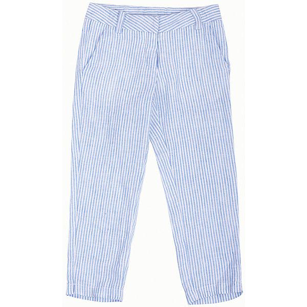Брюки для девочки GulliverБрюки<br>Стильные льняные брюки для девочки в модную мелкую полоску - отличное решение для каждого дня лета. Если вы решили купить легкие летние брюки для девочки, обратите внимание на эту модель, т.к. лен - самый прохладный, самый комфортный и самый модный материал в сезоне Весна/Лето 2016! Отличная форма, красивая посадка, функциональные карманы спереди и сзади сделают льняные брюки самыми любимыми в гардеробе ребенка.<br>Состав:<br>100% лён<br>Ширина мм: 215; Глубина мм: 88; Высота мм: 191; Вес г: 336; Цвет: синий/белый; Возраст от месяцев: 24; Возраст до месяцев: 36; Пол: Женский; Возраст: Детский; Размер: 98,110,104,116; SKU: 4534642;