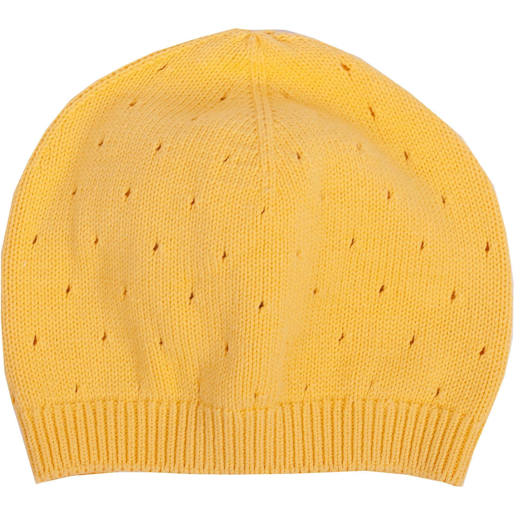 Шапка для девочки GulliverГоловные уборы<br>Яркая вязаная шапка красиво завершает образ, делая его новым, свежим, интересным. Шапка связана модной ажурной вязкой, придающей изделию красоту и индивидуальность. Словом, если вам нужна стильная вязаная шапка для весенней погоды, выбор этой модели абсолютно оправдан!<br>Состав:<br>100% хлопок<br><br>Ширина мм: 89<br>Глубина мм: 117<br>Высота мм: 44<br>Вес г: 155<br>Цвет: желтый<br>Возраст от месяцев: 24<br>Возраст до месяцев: 36<br>Пол: Женский<br>Возраст: Детский<br>Размер: 50,52<br>SKU: 4534655