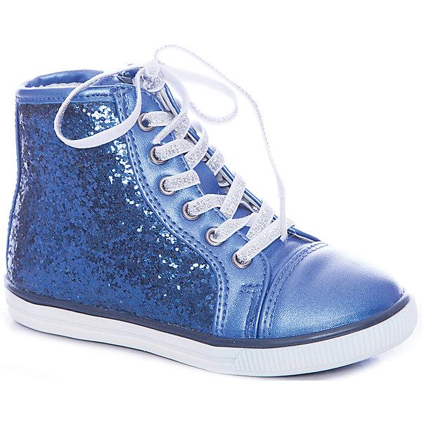 Кеды для девочки GulliverБотинки<br>Шикарные ботинки для девочки поразят воображение юной модницы! Перламутровая синяя искусственная кожа красиво гармонирует с боковыми деталями, усыпанными сверкающими стразами. Шнурки из серебристой тесьмы добавляют модели сияния. Если вы хотите купить модные ботинки для девочки и сделать образ ребенка интересным, свежим, неожиданным, выбор этой модели - правильное решение! Подкладка ботинок выполнена из натуральной кожи. Для удобства одевания-раздевания ботинки имеют боковые молнии.<br>Состав:<br>верх:                              иск.кожа;               подкладка: нат.кожа;                                     подошва:                              TPR<br><br>Ширина мм: 227<br>Глубина мм: 145<br>Высота мм: 124<br>Вес г: 325<br>Цвет: синий<br>Возраст от месяцев: 24<br>Возраст до месяцев: 36<br>Пол: Женский<br>Возраст: Детский<br>Размер: 26,25,27,28,29,30<br>SKU: 4534666
