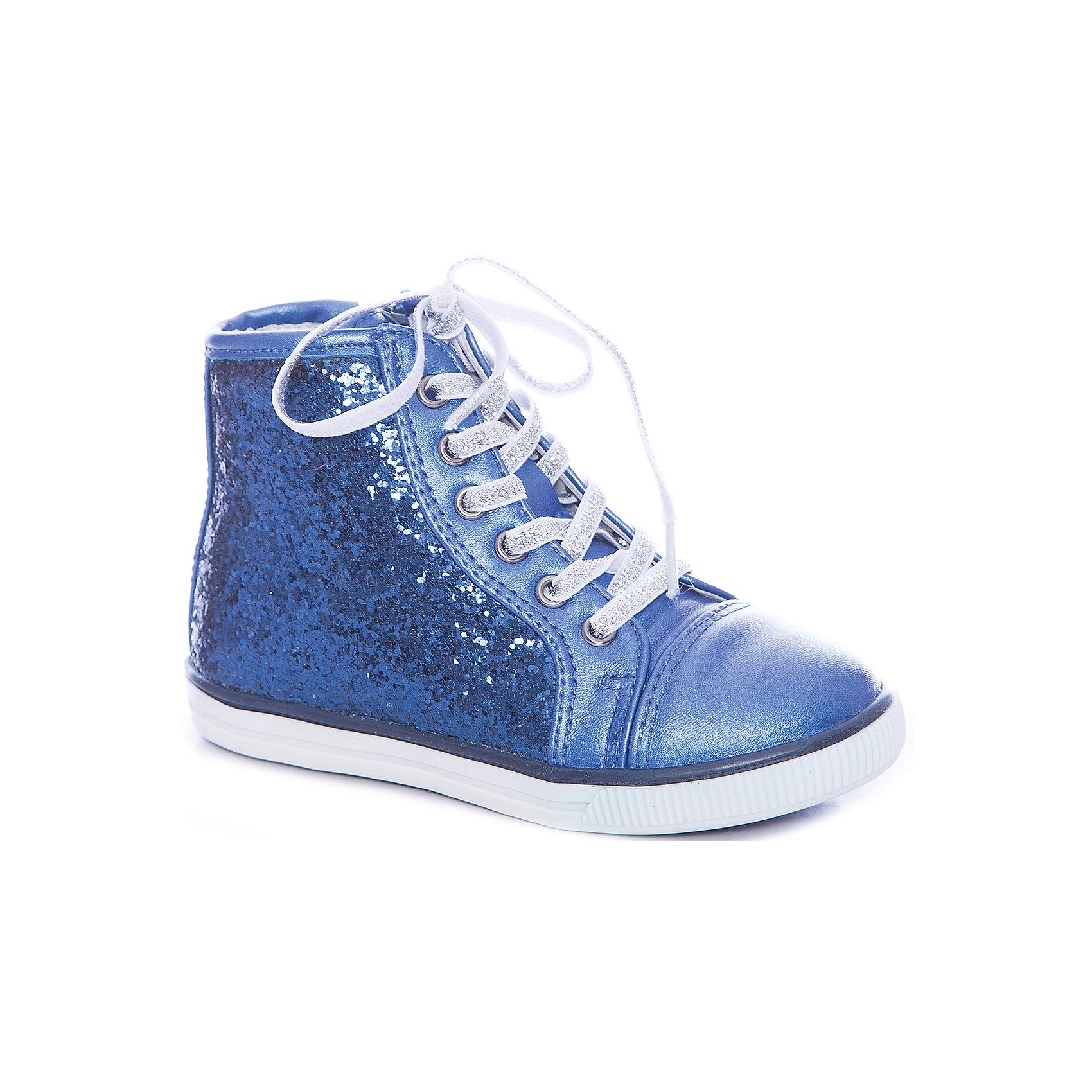 Кеды для девочки GulliverКеды<br>Шикарные ботинки для девочки поразят воображение юной модницы! Перламутровая синяя искусственная кожа красиво гармонирует с боковыми деталями, усыпанными сверкающими стразами. Шнурки из серебристой тесьмы добавляют модели сияния. Если вы хотите купить модные ботинки для девочки и сделать образ ребенка интересным, свежим, неожиданным, выбор этой модели - правильное решение! Подкладка ботинок выполнена из натуральной кожи. Для удобства одевания-раздевания ботинки имеют боковые молнии.<br>Состав:<br>верх:                              иск.кожа;               подкладка: нат.кожа;                                     подошва:                              TPR<br><br>Ширина мм: 227<br>Глубина мм: 145<br>Высота мм: 124<br>Вес г: 325<br>Цвет: синий<br>Возраст от месяцев: 24<br>Возраст до месяцев: 24<br>Пол: Женский<br>Возраст: Детский<br>Размер: 25,27,30,29,28,26<br>SKU: 4534666