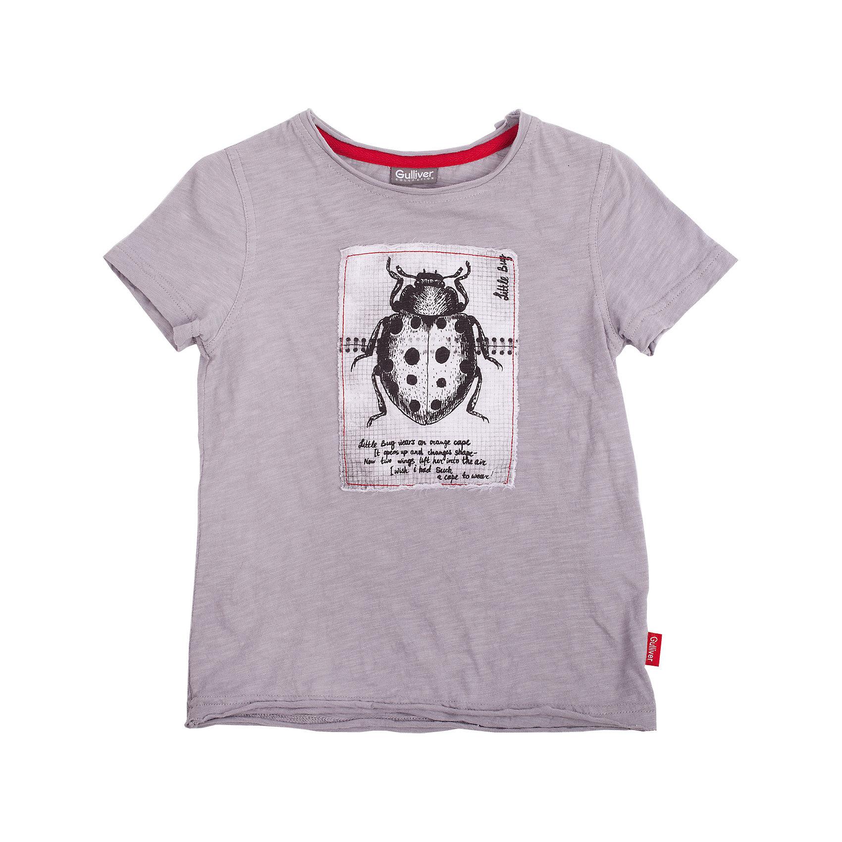 Футболка для мальчика GulliverВы хотите купить модную серую футболку для мальчика? Предпочитаете приобрести интересную необычную модель и качественную брендовую вещь, которая добавит в гардероб ребенка изюминку и придаст летнему образу небрежную элегантность? Тогда эта классная футболка со стильной принтованной нашивкой - отличный выбор! Серая футболка с открытыми срезами и актуальным эффектом легкой потертости, состаренности выполнена из мягкого 100% хлопка. Она сделает каждый день малыша увлекательным и комфортным!<br>Состав:<br>100% хлопок<br><br>Ширина мм: 199<br>Глубина мм: 10<br>Высота мм: 161<br>Вес г: 151<br>Цвет: серый<br>Возраст от месяцев: 24<br>Возраст до месяцев: 36<br>Пол: Мужской<br>Возраст: Детский<br>Размер: 98,116,104,110<br>SKU: 4534698