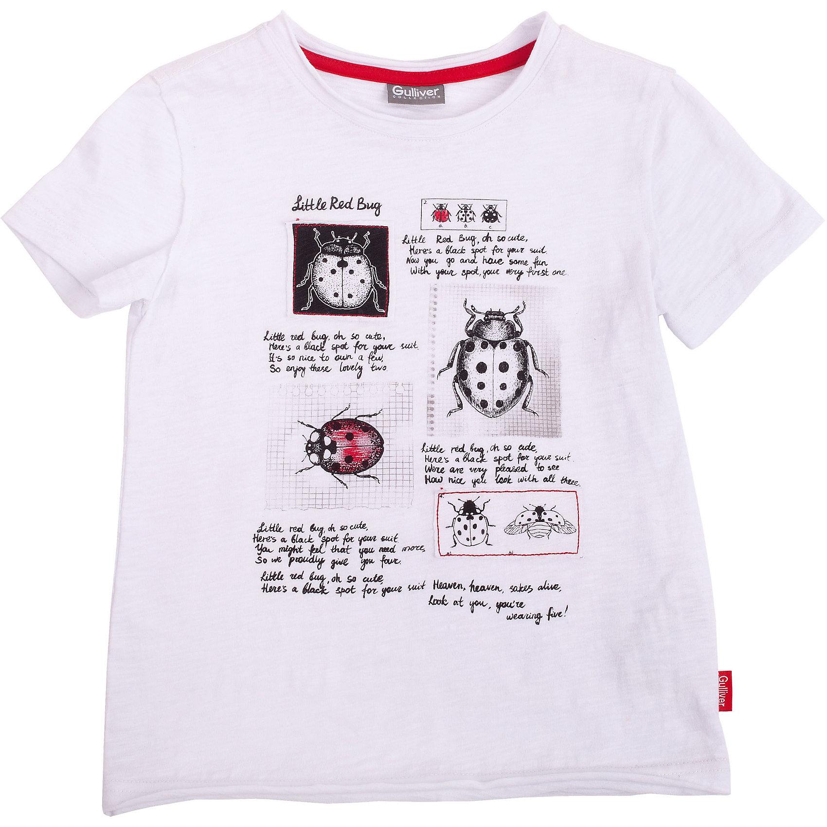 Футболка для мальчика GulliverБелые футболки для мальчика - основа летнего гардероба! Но лишь некоторые из них становятся по-настоящему любимыми. Модная белая футболка с открытыми срезами и ярким выразительным принтом и нашивками сделает каждый день малыша интересным и увлекательным. Выполненная из 100% хлопка, футболка обладает удивительной мягкостью, обеспечивающей ежедневный комфорт. Вы хотите купить модную белую футболку для мальчика? Эта модель - то, что вам нужно!<br>Состав:<br>100% хлопок<br><br>Ширина мм: 199<br>Глубина мм: 10<br>Высота мм: 161<br>Вес г: 151<br>Цвет: белый<br>Возраст от месяцев: 24<br>Возраст до месяцев: 36<br>Пол: Мужской<br>Возраст: Детский<br>Размер: 98,104,116,110<br>SKU: 4534703