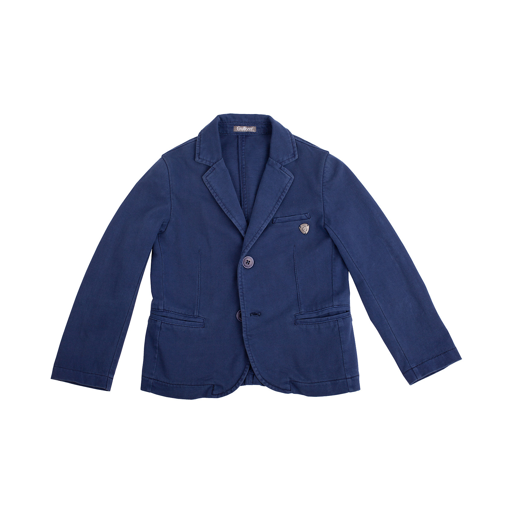 Пиджак для мальчика GulliverКостюмы и пиджаки<br>Вы хотите купить брендовый пиджак для мальчика, который сделает летний образ ребенка элегантным? Предпочитаете приобрести модный пиджак, в котором ему будет так же комфортно, как в любимой толстовке? Тогда синий трикотажный пиджак, выполненный из 100% хлопка - то, что вам нужно! Трикотажный пиджак - хит сезона Весна/Лето 2016! А также, идеальная вещь для создания нарядного образа без лишнего пафоса. Стильный синий пиджак имеет легкий эффект неравномерного крашения, придающий ему модную элегантную небрежность.<br>Состав:<br>100% хлопок<br><br>Ширина мм: 356<br>Глубина мм: 10<br>Высота мм: 245<br>Вес г: 519<br>Цвет: синий<br>Возраст от месяцев: 24<br>Возраст до месяцев: 36<br>Пол: Мужской<br>Возраст: Детский<br>Размер: 98,122,116,110,104<br>SKU: 4534764