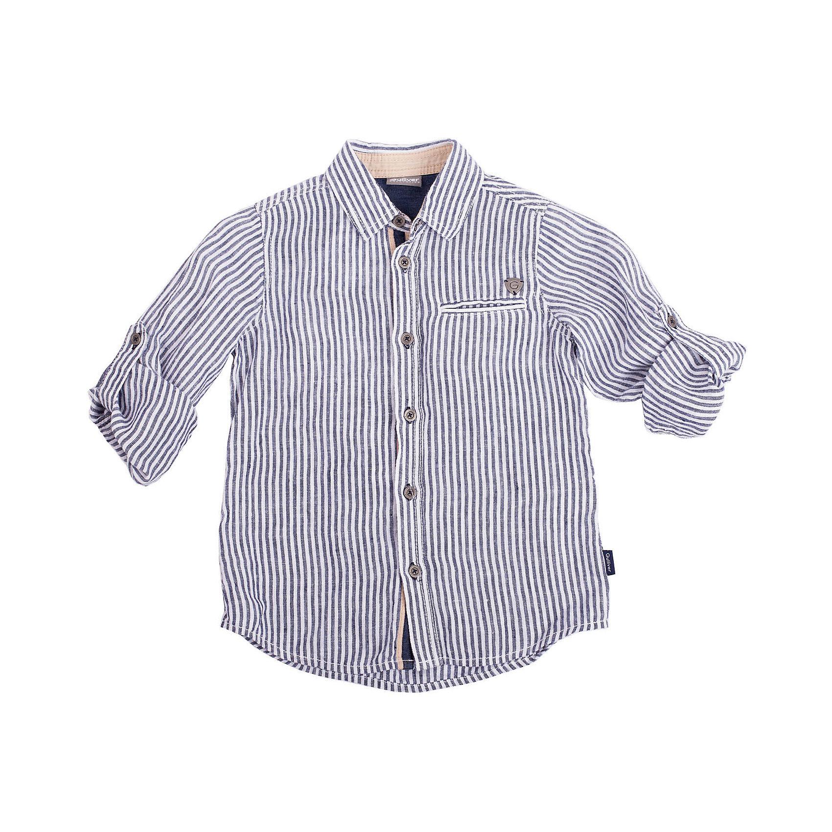 Рубашка для мальчика GulliverМодная летняя рубашка для мальчика - это рубашка в полоску из 100% льна. Рубашка выглядит потрясающе! Актуальная длина, красивый силуэт, высочайшее качество материалов, стильные налокотники из тонкой синей джинсы, эффектная отделка планки и манжет бежевым текстилем демонстрируют как должна выглядеть модная рубашка для мальчика в сезоне Весна-Лето 2016! Если вы решили купить летнюю рубашку и являетесь убежденным приверженцем стиля casual, не сомневайтесь, эта модель - для вас!<br>Состав:<br>100% лён<br><br>Ширина мм: 174<br>Глубина мм: 10<br>Высота мм: 169<br>Вес г: 157<br>Цвет: разноцветный<br>Возраст от месяцев: 24<br>Возраст до месяцев: 36<br>Пол: Мужской<br>Возраст: Детский<br>Размер: 98,104,122,116,110<br>SKU: 4534770