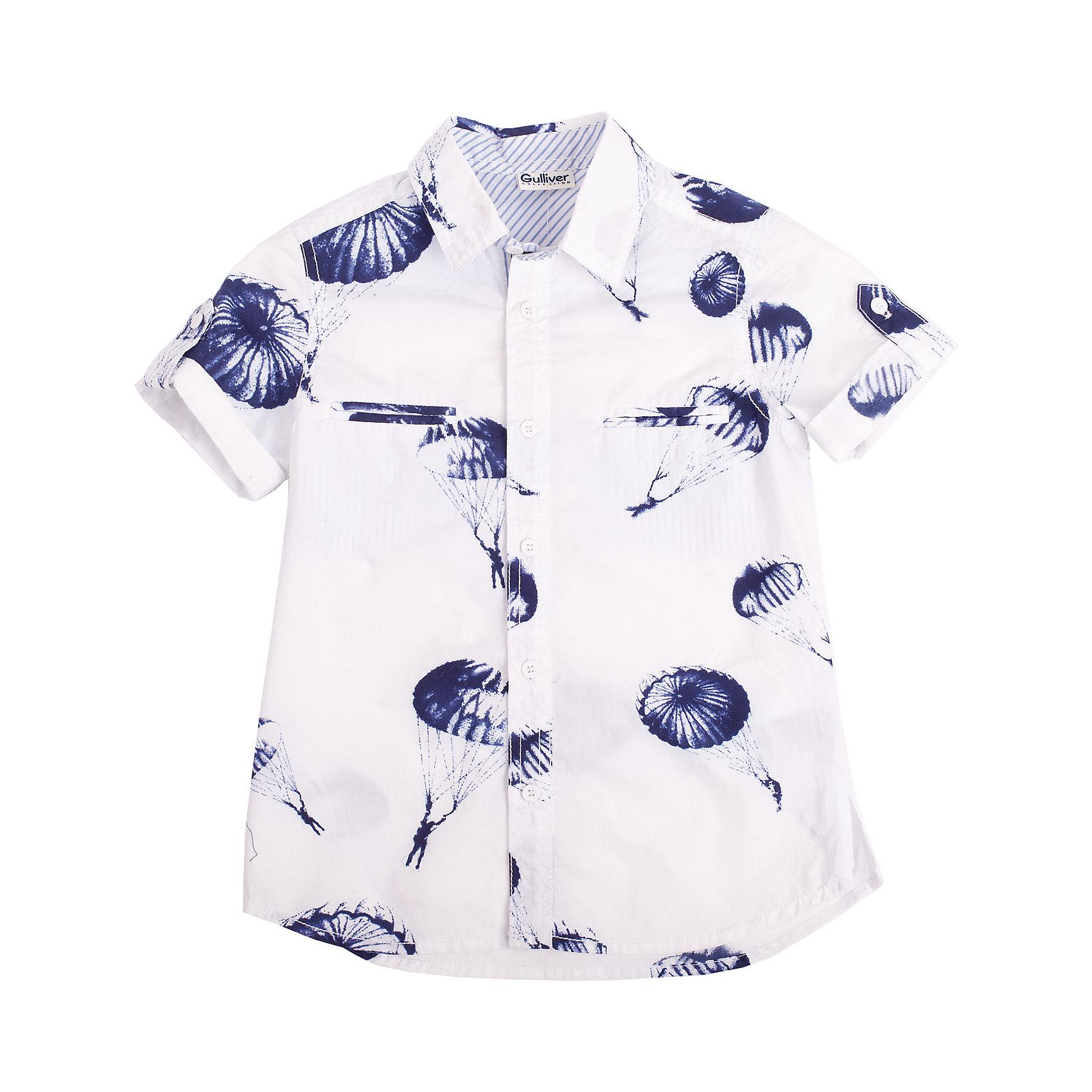 Рубашка для мальчика GulliverБлузки и рубашки<br>Рубашка с коротким рукавом и выразительным принтом для мальчика - хит сезона Весна/Лето 2016! И это не случайно. Она делает образ ребенка свежим, интересным, оригинальным! Рубашка с классным графическим рисунком в стиле коллекции Воздухоплаватели выполнена из 100% хлопка. Она имеет модный силуэт и, естественно, носится только навыпуск! Если вы решили купить стильную рубашку для мальчика, присмотритесь к этой модели! Великолепный принт, удобная форма, эффектная отделка, отличное качество, бесспорно, придутся по вкусу ее обладателю!<br>Состав:<br>100% хлопок<br><br>Ширина мм: 174<br>Глубина мм: 10<br>Высота мм: 169<br>Вес г: 157<br>Цвет: разноцветный<br>Возраст от месяцев: 48<br>Возраст до месяцев: 60<br>Пол: Мужской<br>Возраст: Детский<br>Размер: 110,104,122,98,116<br>SKU: 4534776