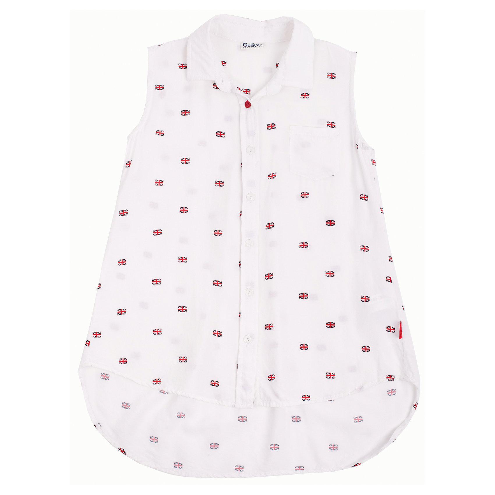 Блузка для девочки GulliverБлузки и рубашки<br>Модная блузка для девочки должна выглядеть именно так: свободный трапециевидный крой, удлиненная линия спинки, летящий силуэт, мягкая, приятная на ощупь ткань в мелкий равномерный рисунок. Но главное, модная блузка для девочки должна быть без рукавов! Именно такая модель сделает образ ребенка стильным и свежим, соответствующим основным трендам сезона Весна/Лето 2016. К тому же, в ней удобно, комфортно и не жарко.<br>Состав:<br>100% вискоза<br><br>Ширина мм: 186<br>Глубина мм: 87<br>Высота мм: 198<br>Вес г: 197<br>Цвет: белый<br>Возраст от месяцев: 96<br>Возраст до месяцев: 108<br>Пол: Женский<br>Возраст: Детский<br>Размер: 134,122,128,140<br>SKU: 4534857