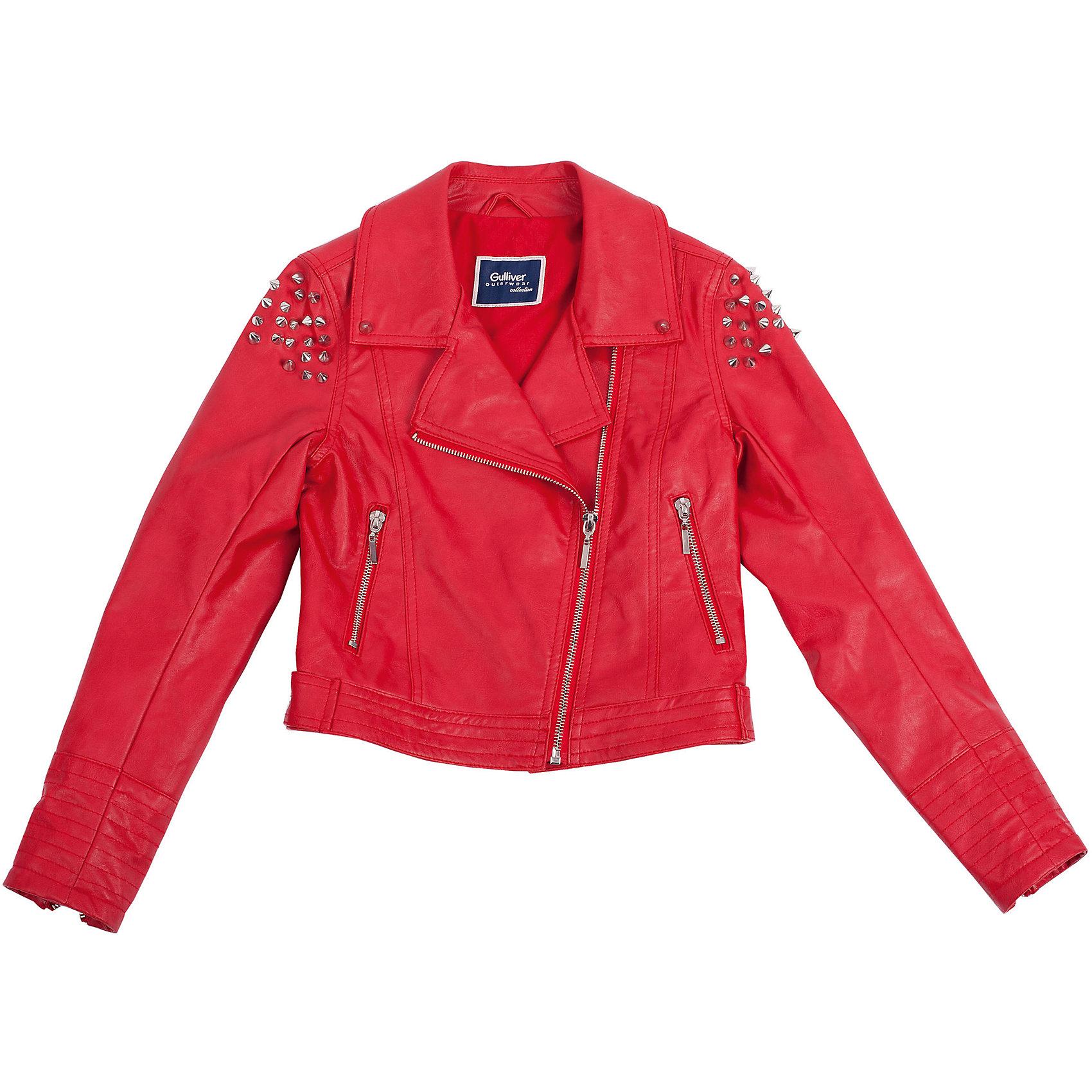 Ветровка для девочки GulliverВерхняя одежда<br>Стильная косуха из эко-кожи для девочки - хит сезона Весна/Лето 2016! Мечта юной модницы - красная куртка с асимметричной молнией выглядит дерзко, ярко, выразительно! Она сделана по всем законам жанра: укороченная длина, чуть приталенный силуэт, крупная металлическая фурнитура, заклепки. Красная кожаная косуха - стильная, удобная, практичная вещь, а также яркий, заметный элемент образа. Она хороша в компании с джинсами, а также весьма актуальна в сочетании с тонкими воздушными тканями. Словом, косуха в наше время - вещь универсальная. И, несмотря на то, что кожаная косуха - привычный элемент байкерского стиля, она идеально подойдет и для романтического, и для спортивного образа, придав ему свежесть и оригинальность. Купить косуху для девочки - значит, сделать ее образ эффектным, динамичным, ярким.<br>Состав:<br>верх:  100%полиуретан;  подкладка:  50%хлопок  50%полиэстер<br><br>Ширина мм: 356<br>Глубина мм: 10<br>Высота мм: 245<br>Вес г: 519<br>Цвет: красный<br>Возраст от месяцев: 72<br>Возраст до месяцев: 84<br>Пол: Женский<br>Возраст: Детский<br>Размер: 122,128,140,134<br>SKU: 4534867