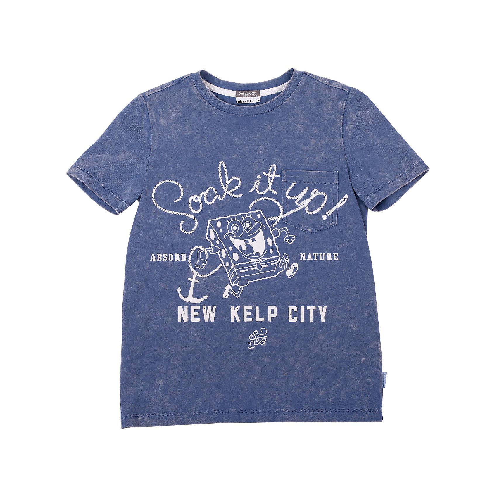 Футболка для мальчика GulliverКакими должны быть модные футболки для мальчика? Что отличает простую футболку с коротким рукавом от стильной, качественной брендовой вещи? Прекрасный хлопок с эластаном, дающий 100% комфорт и свободу движений, модная варка, стирка изделия, создающая легкий эффект состаренности, потертости вещи, эффектный занимательный принт делают футболку ярким заметным элементом образа. Если вы решили купить футболку с принтом для мальчика, обратите внимание на эту модель! Красивый летний цвет, комфортная посадка на фигуре, оригинальное изображение на передней части модели обязательно порадует ребенка и придаст его летнему гардеробу свежесть и новизну.<br>Состав:<br>95% хлопок      5% эластан<br><br>Ширина мм: 199<br>Глубина мм: 10<br>Высота мм: 161<br>Вес г: 151<br>Цвет: голубой<br>Возраст от месяцев: 72<br>Возраст до месяцев: 84<br>Пол: Мужской<br>Возраст: Детский<br>Размер: 122,140,128,134<br>SKU: 4534933