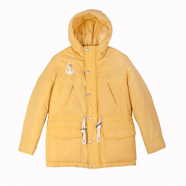 Куртка для мальчика GulliverДемисезонные куртки<br>Яркая куртка-парка для мальчика - трендовая вещь сезона Весна/Лето 2016! Утепленная желтая куртка подарит уют и комфорт при неустойчивой весенней погоде, а также создаст по-настоящему солнечное настроение! Оригинальный дизайн, модный крой, продуманные функциональные детали делают куртку нужным, важным, необходимым элементом модного мальчикового гардероба в стиле casual! Если вы решили обновить весенний гардероб, начните с верхней одежды! Вам стоит купить эту куртку, чтобы сделать каждый день ребенка радостным и комфортным! Интересный занимательный принт на спинке, настрочные шевроны, выразительная брендированная фурнитура наверняка понравятся современному мальчику. Модная весенняя куртка на синтепоне - основа стильного позитивного образа!<br>Состав:<br>верх: 100% нейлон;  подкладка: 100% хлопок; утеплитель: 100% полиэстер<br><br>Ширина мм: 356<br>Глубина мм: 10<br>Высота мм: 245<br>Вес г: 519<br>Цвет: желтый<br>Возраст от месяцев: 108<br>Возраст до месяцев: 120<br>Пол: Мужской<br>Возраст: Детский<br>Размер: 140,128,122,134<br>SKU: 4534968