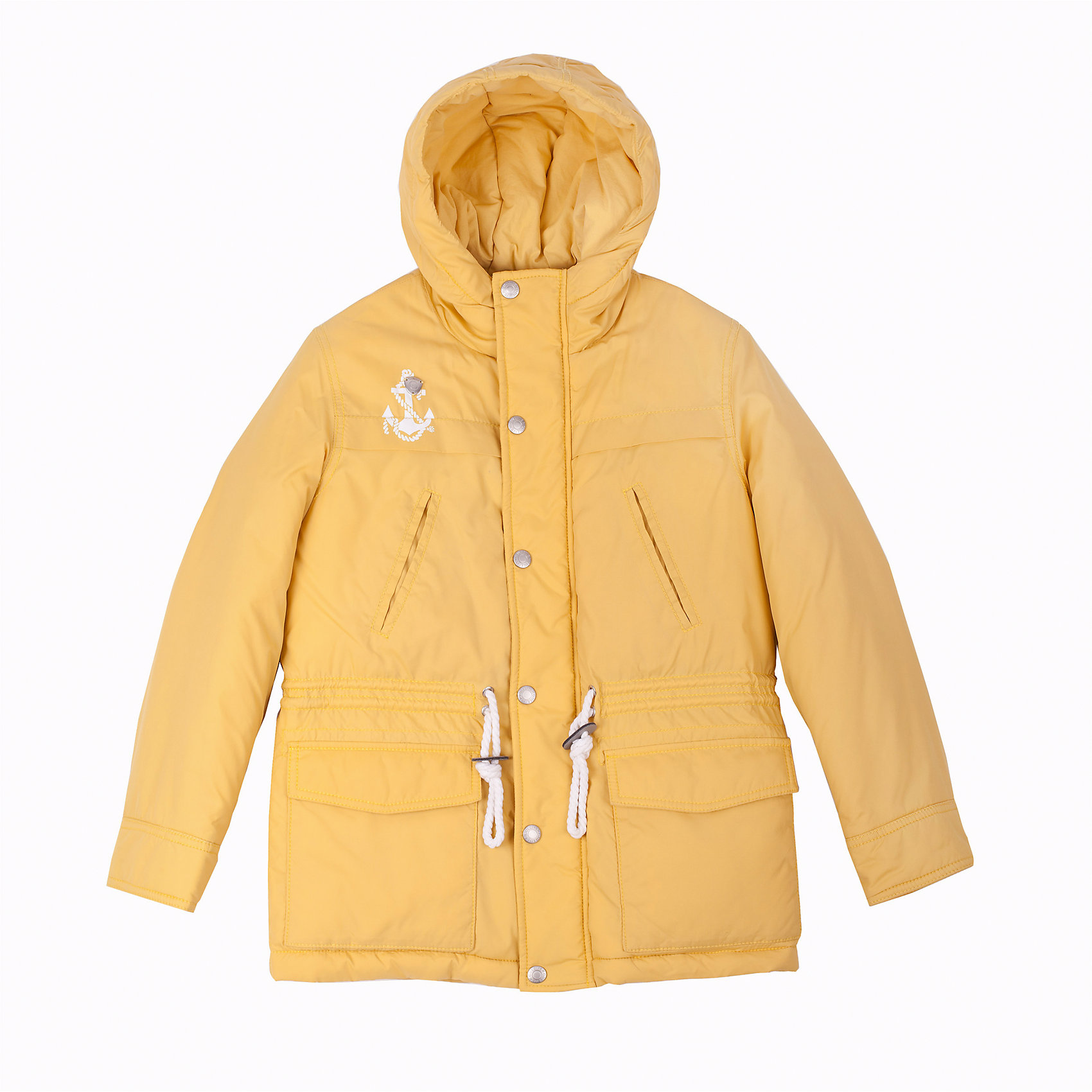 Куртка для мальчика GulliverВерхняя одежда<br>Яркая куртка-парка для мальчика - трендовая вещь сезона Весна/Лето 2016! Утепленная желтая куртка подарит уют и комфорт при неустойчивой весенней погоде, а также создаст по-настоящему солнечное настроение! Оригинальный дизайн, модный крой, продуманные функциональные детали делают куртку нужным, важным, необходимым элементом модного мальчикового гардероба в стиле casual! Если вы решили обновить весенний гардероб, начните с верхней одежды! Вам стоит купить эту куртку, чтобы сделать каждый день ребенка радостным и комфортным! Интересный занимательный принт на спинке, настрочные шевроны, выразительная брендированная фурнитура наверняка понравятся современному мальчику. Модная весенняя куртка на синтепоне - основа стильного позитивного образа!<br>Состав:<br>верх: 100% нейлон;  подкладка: 100% хлопок; утеплитель: 100% полиэстер<br><br>Ширина мм: 356<br>Глубина мм: 10<br>Высота мм: 245<br>Вес г: 519<br>Цвет: желтый<br>Возраст от месяцев: 84<br>Возраст до месяцев: 96<br>Пол: Мужской<br>Возраст: Детский<br>Размер: 128,122,140,134<br>SKU: 4534968