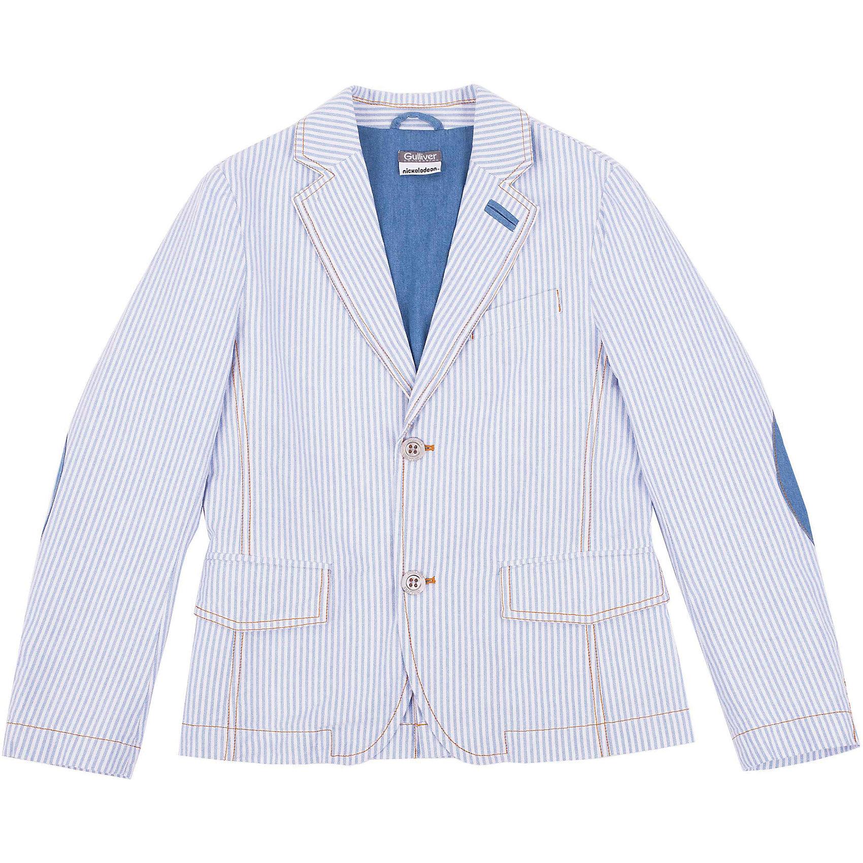 Пиджак для мальчика GulliverШикарный пиджак в полоску превратит любого озорника и непоседу в настоящего джентльмена. Модный пиджак из 100% хлопка в полоску - непременный атрибут элегантного детского гардероба! Идеальная форма, правильная посадка на фигуре, выразительные детали, а также красивая внутренняя обработка изделия, делают пиджак элегантным и изысканным. При этом, ребенок в нем будет чувствовать себя абсолютно свободно и непринужденно! Стильный пиджак для мальчика подчеркнет индивидуальность и сделает любой комплект в стиле casual ярким и запоминающимся!<br>Состав:<br>100% хлопок<br><br>Ширина мм: 356<br>Глубина мм: 10<br>Высота мм: 245<br>Вес г: 519<br>Цвет: белый<br>Возраст от месяцев: 72<br>Возраст до месяцев: 84<br>Пол: Мужской<br>Возраст: Детский<br>Размер: 122,128,134,140<br>SKU: 4534973