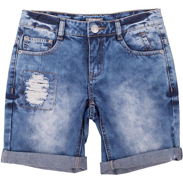 Шорты джинсовые для мальчика GulliverШорты, бриджи, капри<br>Шорты - непременный атрибут стиля casual, а значит модные джинсовые шорты для мальчика - изделие из разряда must have! Но как угнаться за детской модой? Мы только привыкли к варке, повреждениям и потертостям на детских джинсовых изделиях, но дизайнеры уже придумали что-то новенькое! Голубые джинсовые шорты для мальчика с декоративными заплатками - хит сезона весна/лето 2016!  К тому же, это стильный, комфортный элемент гардероба, идеально подходящий к любой футболке, майке, джемперу.<br>Состав:<br>100% хлопок<br><br>Ширина мм: 191<br>Глубина мм: 10<br>Высота мм: 175<br>Вес г: 273<br>Цвет: голубой<br>Возраст от месяцев: 84<br>Возраст до месяцев: 96<br>Пол: Мужской<br>Возраст: Детский<br>Размер: 128,134,140,122<br>SKU: 4534978