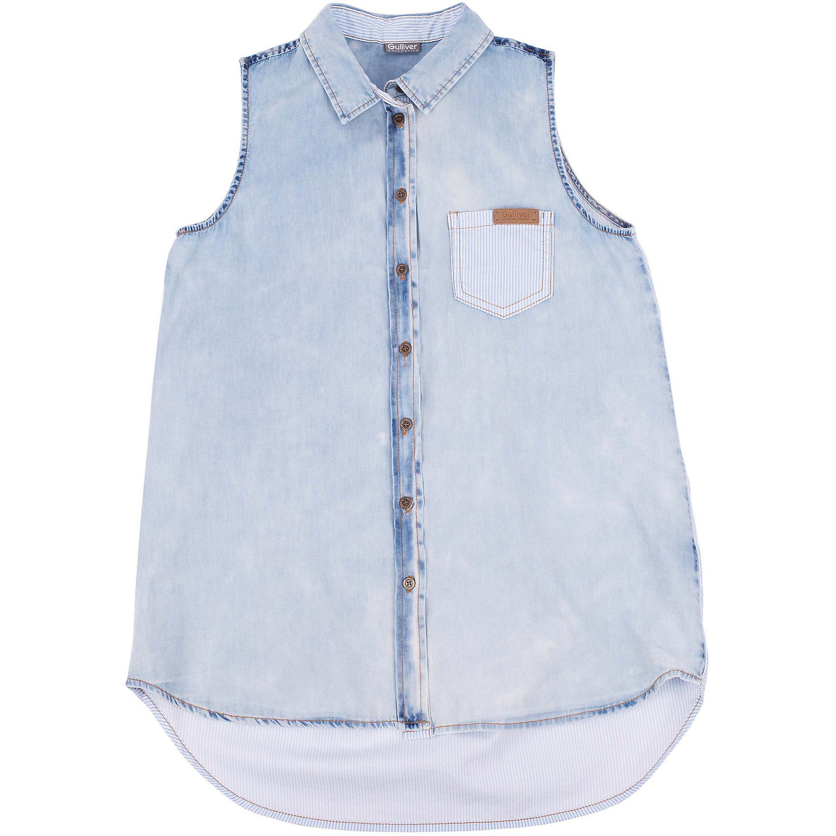 Блузка для девочки GulliverУдлиненная блузка без рукавов - хит коллекции Весна/Лето 2016! Модная свободная форма, удлиненная линия спинки, интересная комбинация денима и полосатого хлопка, а также классная варка изделия, создающая потертости и замины, делают блузку ярким акцентом повседневного образа. Стильная джинсовая блузка - идеальный вариант для тех, кто идет в ногу со временем, предпочитая навязчивому гламуру легкость и комфорт элегантного стиля casual.<br>Состав:<br>100% хлопок<br><br>Ширина мм: 186<br>Глубина мм: 87<br>Высота мм: 198<br>Вес г: 197<br>Цвет: голубой<br>Возраст от месяцев: 120<br>Возраст до месяцев: 132<br>Пол: Женский<br>Возраст: Детский<br>Размер: 146,152,164,158<br>SKU: 4535018