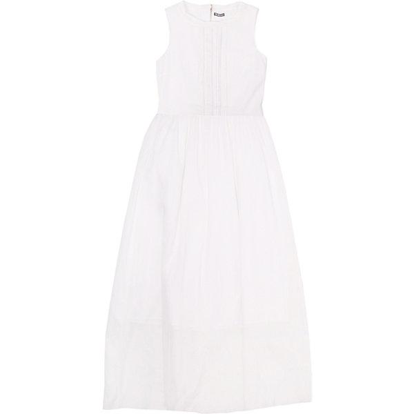 Платье для девочки GulliverОдежда<br>Ох уж эти модницы… Их летний гардероб пестрит нарядами, но разве можно устоять перед новым белым длинным платьем без рукавов? Модное летнее платье для девочки-подростка выполнено из батиста. Тонкое, нежное, изящное, платье выглядит выразительно. Передняя часть модели оформлена вертикальными защипами. Для любительниц романтического стиля платье можно дополнить  вязаным кардиганом, а тот, кто предпочитает одеваться смелее, завершит образ стильным джинсовым жилетом, создав яркий современный комплект.<br>Состав:<br>верх:               100% хлопок; подкладка:            100% хлопок<br><br>Ширина мм: 236<br>Глубина мм: 16<br>Высота мм: 184<br>Вес г: 177<br>Цвет: белый<br>Возраст от месяцев: 120<br>Возраст до месяцев: 132<br>Пол: Женский<br>Возраст: Детский<br>Размер: 146,164,158,152<br>SKU: 4535023