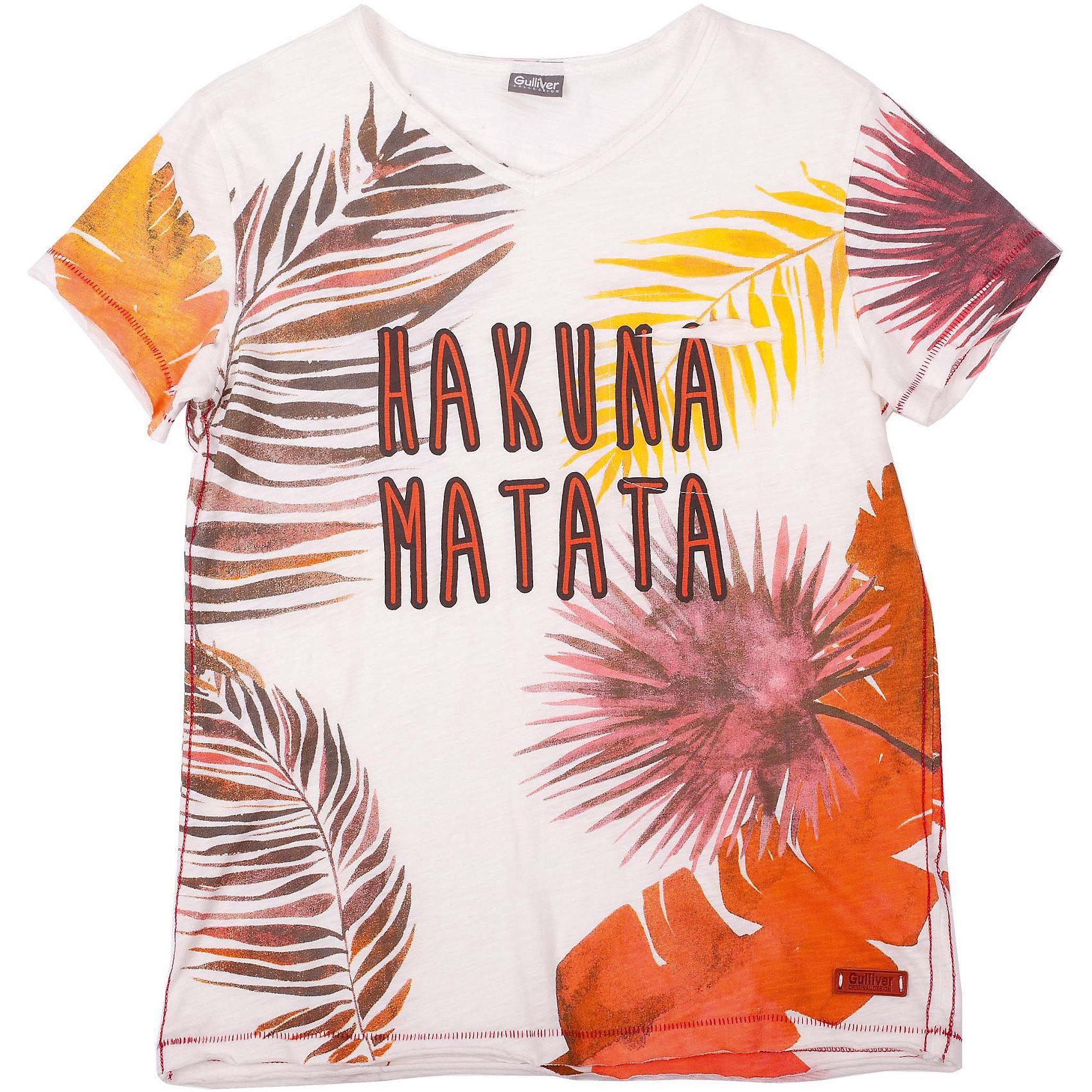 Футболка для мальчика GulliverШикарная футболка для мальчика с рисунком в гавайском стиле - прекрасная модель для жаркого лета. Она создаст отличное настроение и сделает каждый день ребенка комфортным.  Цветная футболка для мальчика из коллекции Камбоджа - лучший пример футболки с рисунком: оригинальный  декор, выполненный в технике принта делает изделие новым и интересным. Футболка выглядит стильно, эффектно, оригинально! Она имеет эффект изделия, слегка выгоревшего на солнце, что, наверняка, понравится модному современному подростку.<br>Состав:<br>100% хлопок<br><br>Ширина мм: 199<br>Глубина мм: 10<br>Высота мм: 161<br>Вес г: 151<br>Цвет: разноцветный<br>Возраст от месяцев: 132<br>Возраст до месяцев: 144<br>Пол: Мужской<br>Возраст: Детский<br>Размер: 152,158,146,164<br>SKU: 4535073