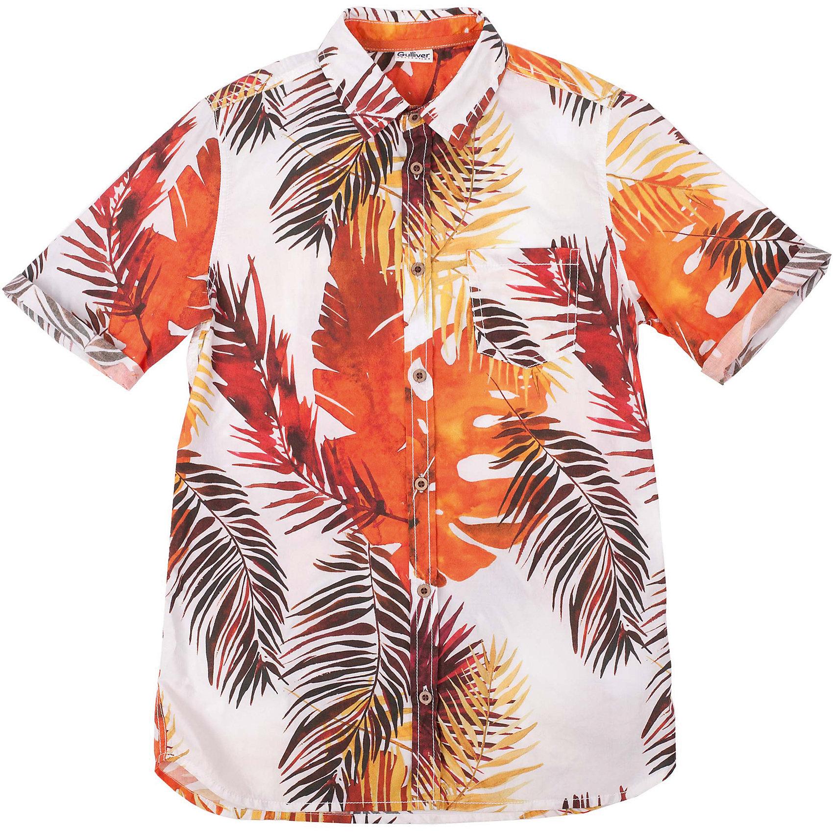 Рубашка для мальчика GulliverБлузки и рубашки<br>Модная рубашка из 100% хлопка с коротким рукавом - прекрасная модель для жаркого лета. Она создает отличное настроение и делает каждый день ребенка комфортным. Цветная рубашка для мальчика из коллекции Камбоджа - лучший пример рубашки в гавайском стиле: сочная цветовая гамма, оригинальный динамичный рисунок ткани, приталенный силуэт делают рубашку стильной, эффектной, оригинальной! Рубашка имеет эффект изделия, слегка выгоревшего на солнце, что, наверняка, понравится модному современному подростку. Если вы решили купить летнюю рубашку для мальчика, эта яркая, позитивная, удобная модель - отличный выбор!<br>Состав:<br>100% хлопок<br><br>Ширина мм: 174<br>Глубина мм: 10<br>Высота мм: 169<br>Вес г: 157<br>Цвет: белый<br>Возраст от месяцев: 120<br>Возраст до месяцев: 132<br>Пол: Мужской<br>Возраст: Детский<br>Размер: 146,164,152,158<br>SKU: 4535088