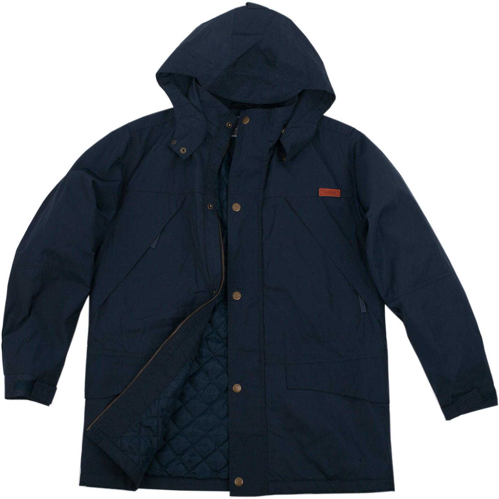 Куртка для мальчика GulliverМодная утепленная куртка для мальчика - изделие совершенно необходимое! Неустойчивая мартовская погода обязывает одеться не менее основательно, чем зимой, но весеннее настроение требует быть новым, стильным и современным! Модная синяя куртка - именно то, что вам нужно. Множество функциональных карманов позволяют надежно хранить важные для подростка мелочи. Остегивающийся утепленный капюшон, ветрозащитная планка, внутренняя утяжка от продувания делают модель надежной, практичной и комфортной!<br>Состав:<br>верх: 100% полиэстер;  подкладка: 100% полиэстер; утеплитель: 100% полиэстер<br><br>Ширина мм: 356<br>Глубина мм: 10<br>Высота мм: 245<br>Вес г: 519<br>Цвет: синий<br>Возраст от месяцев: 120<br>Возраст до месяцев: 132<br>Пол: Мужской<br>Возраст: Детский<br>Размер: 146,158,152,164<br>SKU: 4535103