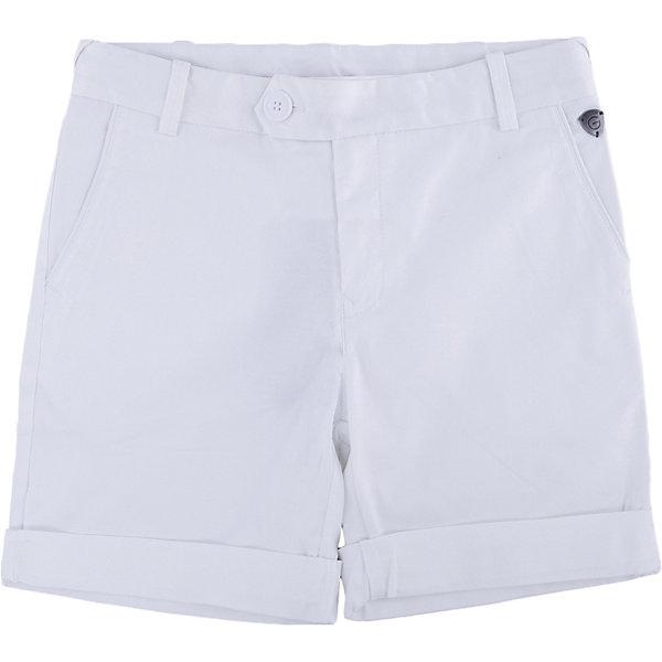 Шорты для мальчика GulliverШорты, бриджи, капри<br>Купить модные шорты для мальчика! Выбираясь на весенний шоппинг, мамы мальчиков часто ставят перед собой эту непростую задачу. И действительно, модные шорты должны быть с изюминкой! Белый цвет выглядит нарядно, благородно, изысканно! Отделка оригинальной тесьмой в морском стиле делает модель яркой и запоминающейся. Словом, эти стильные  белые шорты с отворотами, брендированной фурнитурой и деликатной контрастной вышивкой на заднем кармане - лучшее решение для жаркого модного лета!<br>Состав:<br>98% хлопок      2% эластан<br>Ширина мм: 191; Глубина мм: 10; Высота мм: 175; Вес г: 273; Цвет: белый; Возраст от месяцев: 132; Возраст до месяцев: 144; Пол: Мужской; Возраст: Детский; Размер: 152,146,158,164; SKU: 4535181;